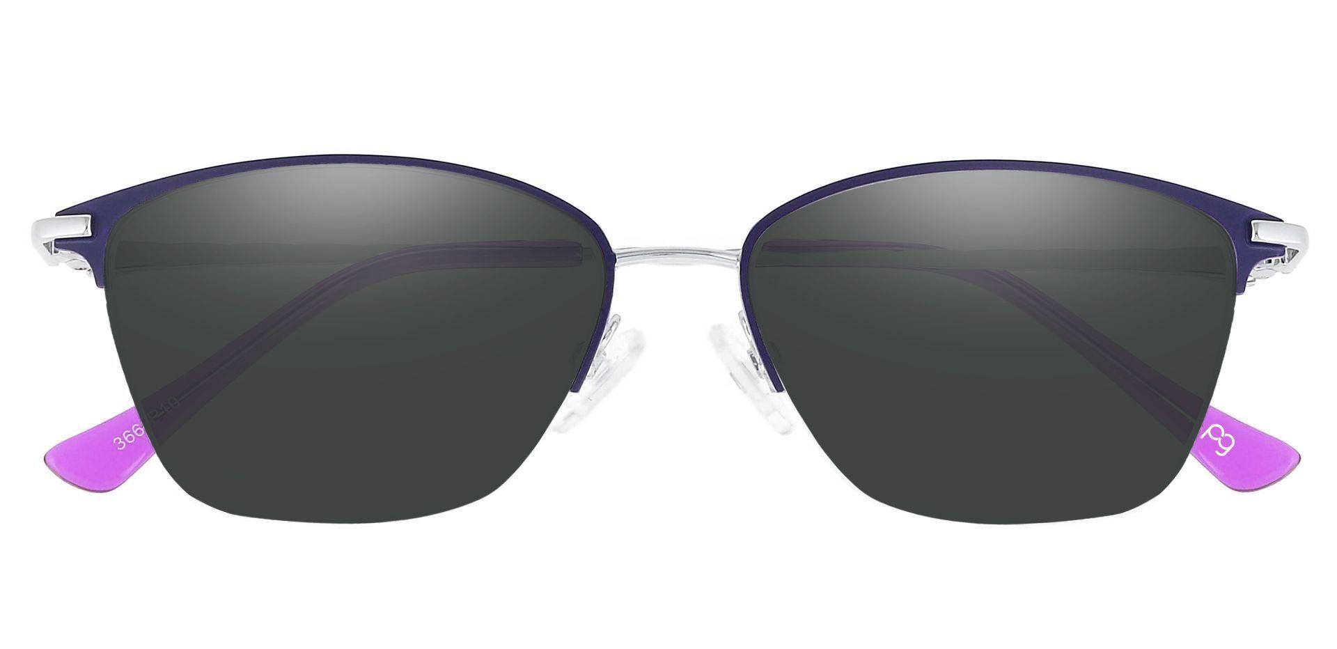 Marigold Rectangle Prescription Sunglasses - Purple Frame With Gray Lenses