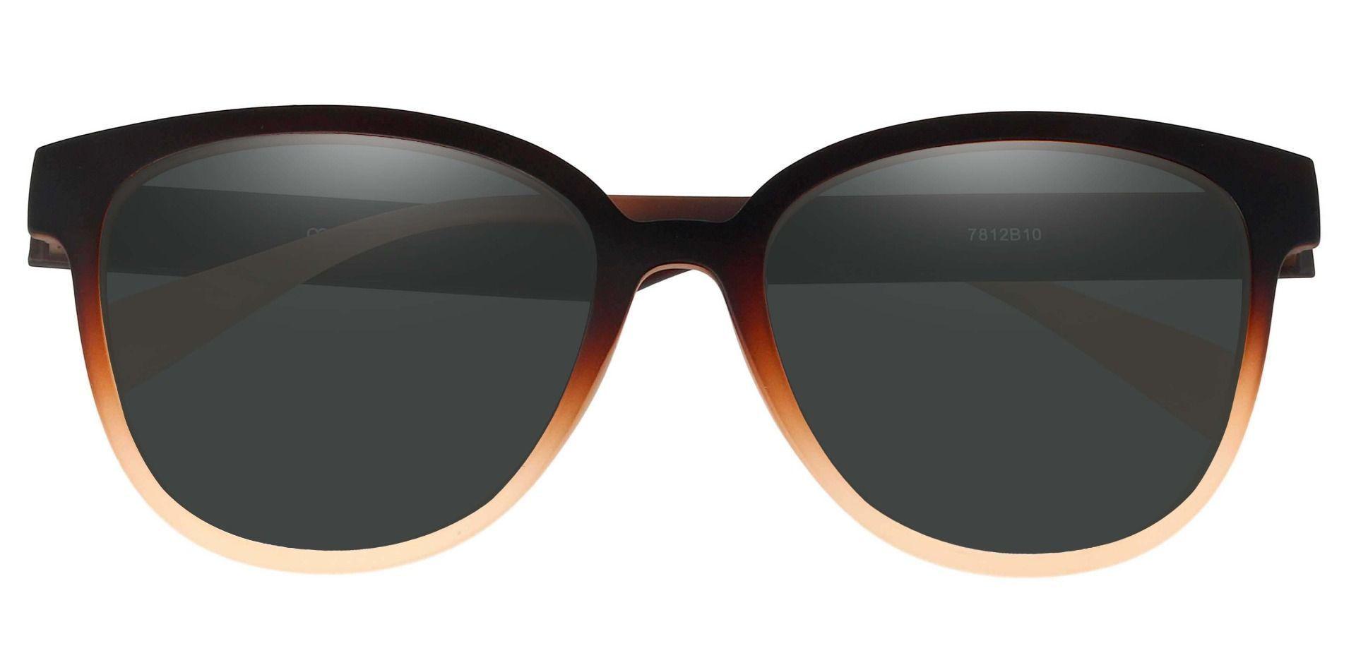 Newport Oval Prescription Sunglasses - Brown Frame With Gray Lenses