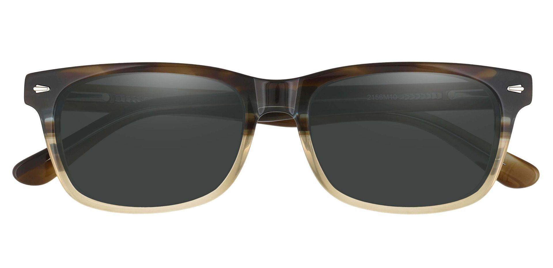 Hendrix Rectangle Prescription Sunglasses - Multi Color Frame With Gray Lenses