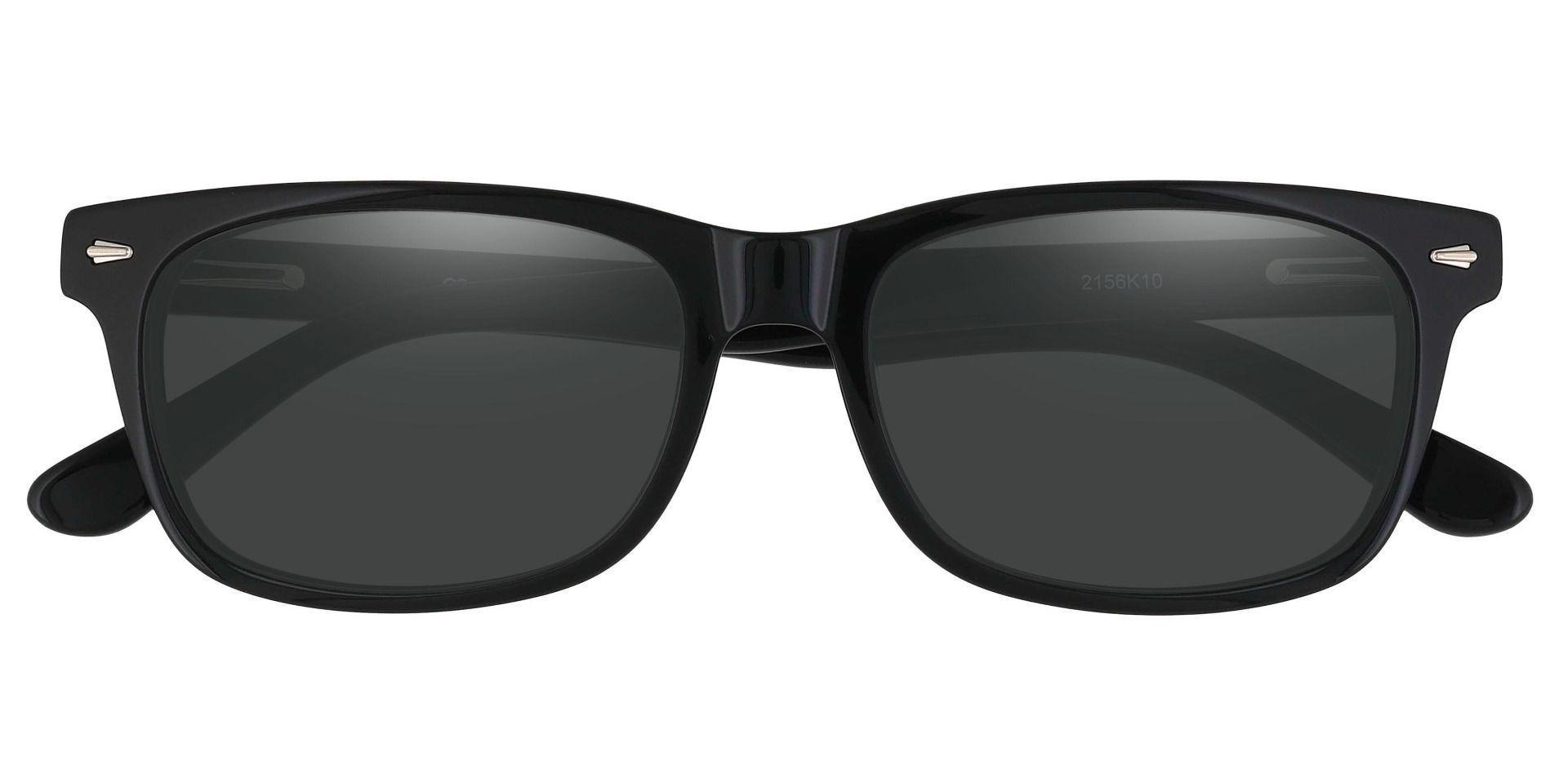 Hendrix Rectangle Prescription Sunglasses - Black Frame With Gray Lenses