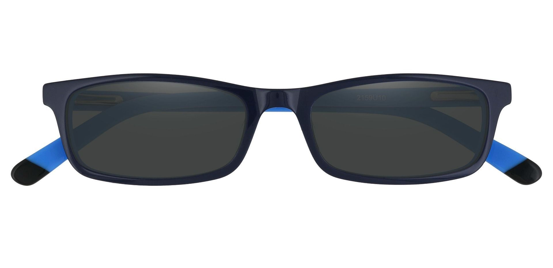 Palisades Rectangle Single Vision Sunglasses - Blue Frame With Gray Lenses