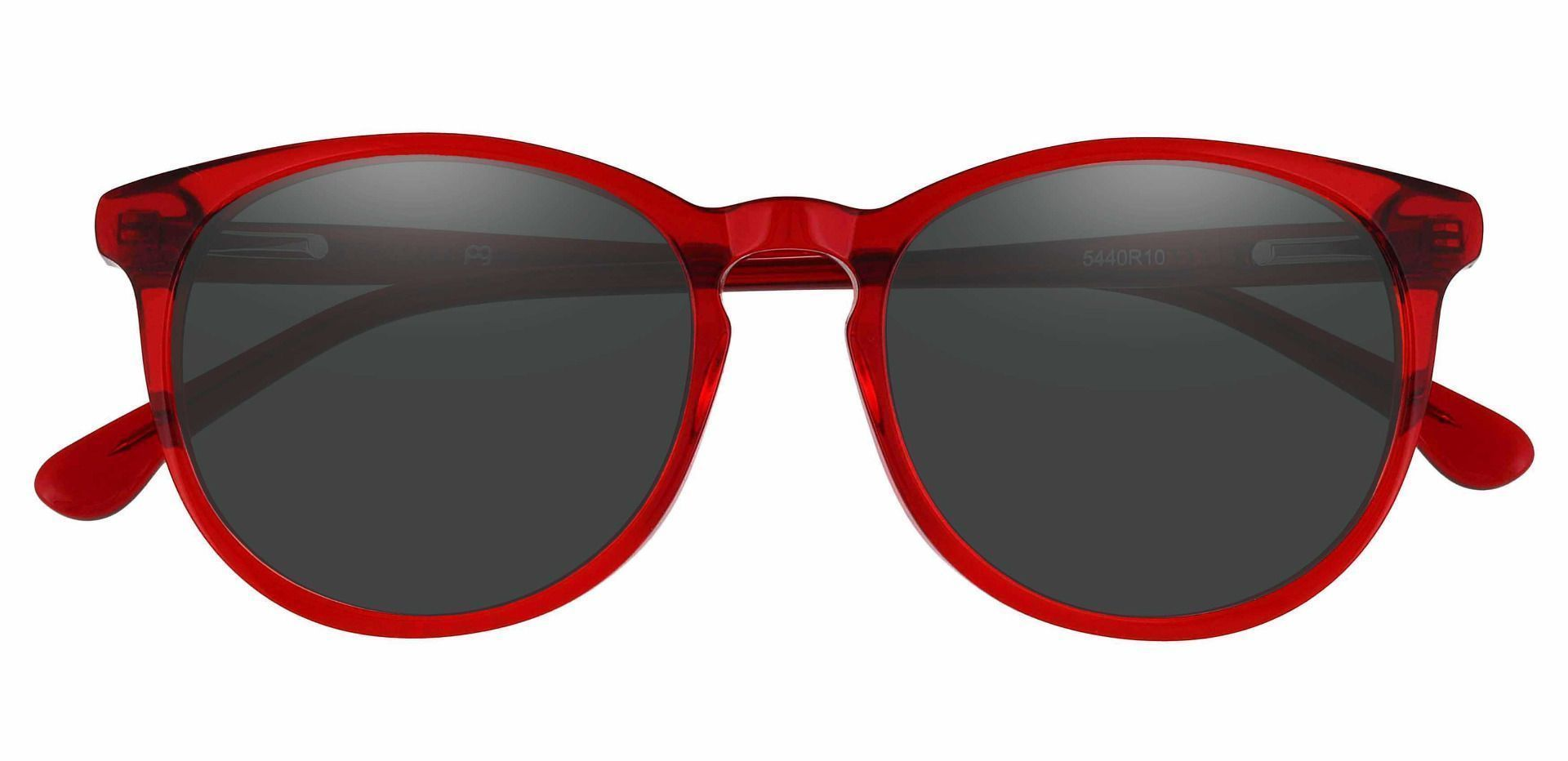 Carriage Round Lined Bifocal Sunglasses - Red Frame With Gray Lenses