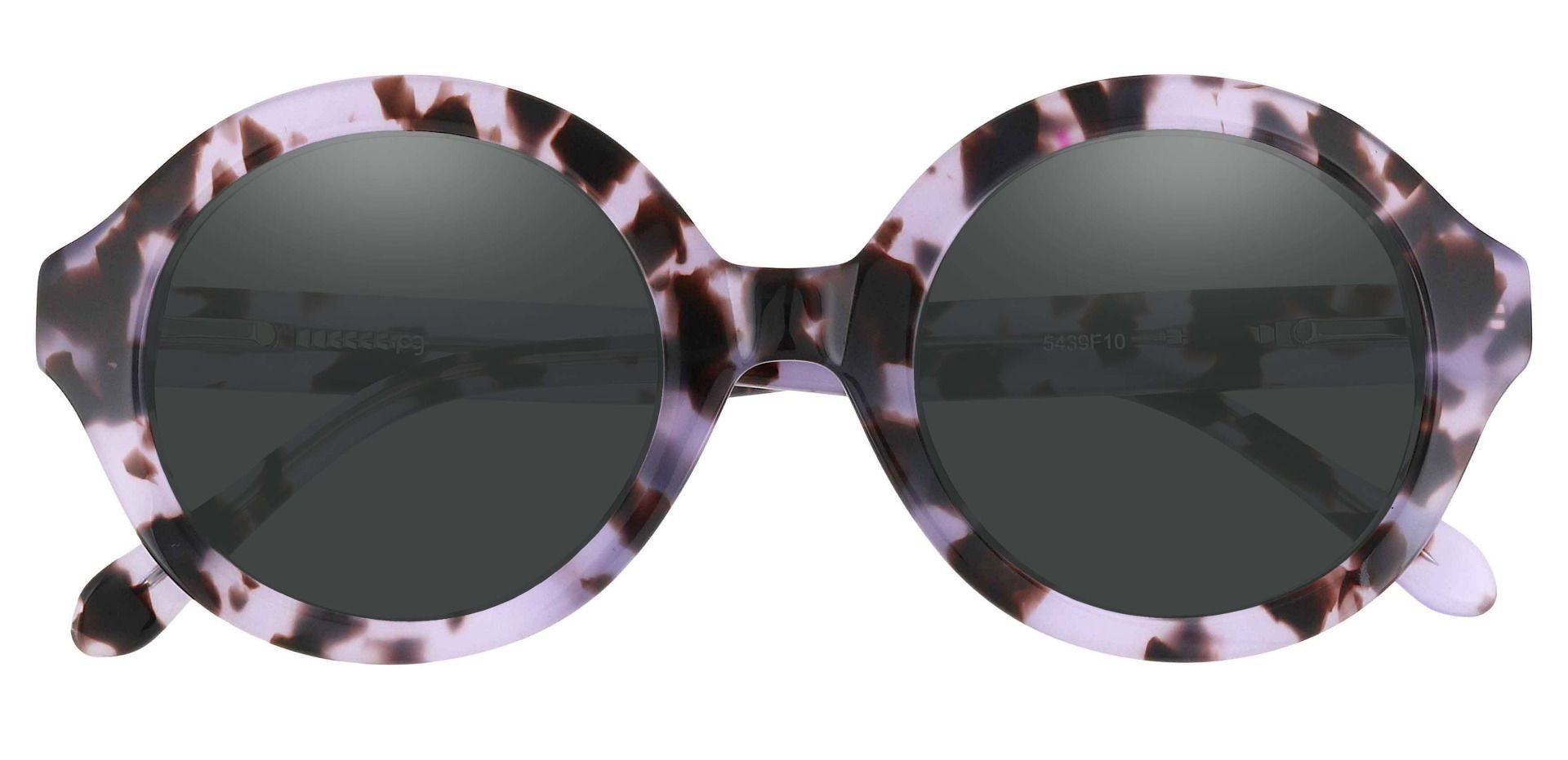 Clara Round Non-Rx Sunglasses - Floral Frame With Gray Lenses