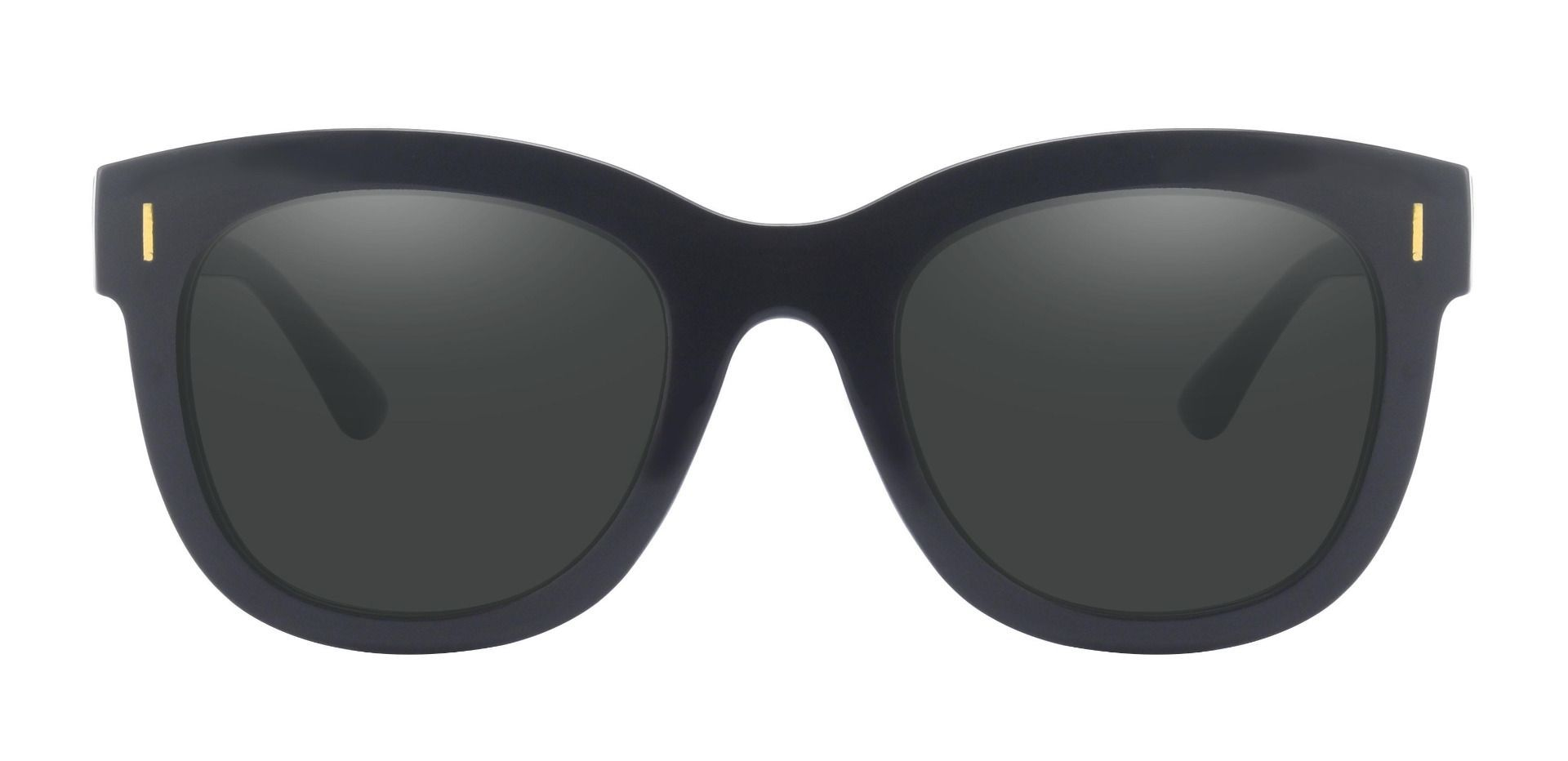 Saratoga Square Lined Bifocal Sunglasses - Black Frame With Gray Lenses