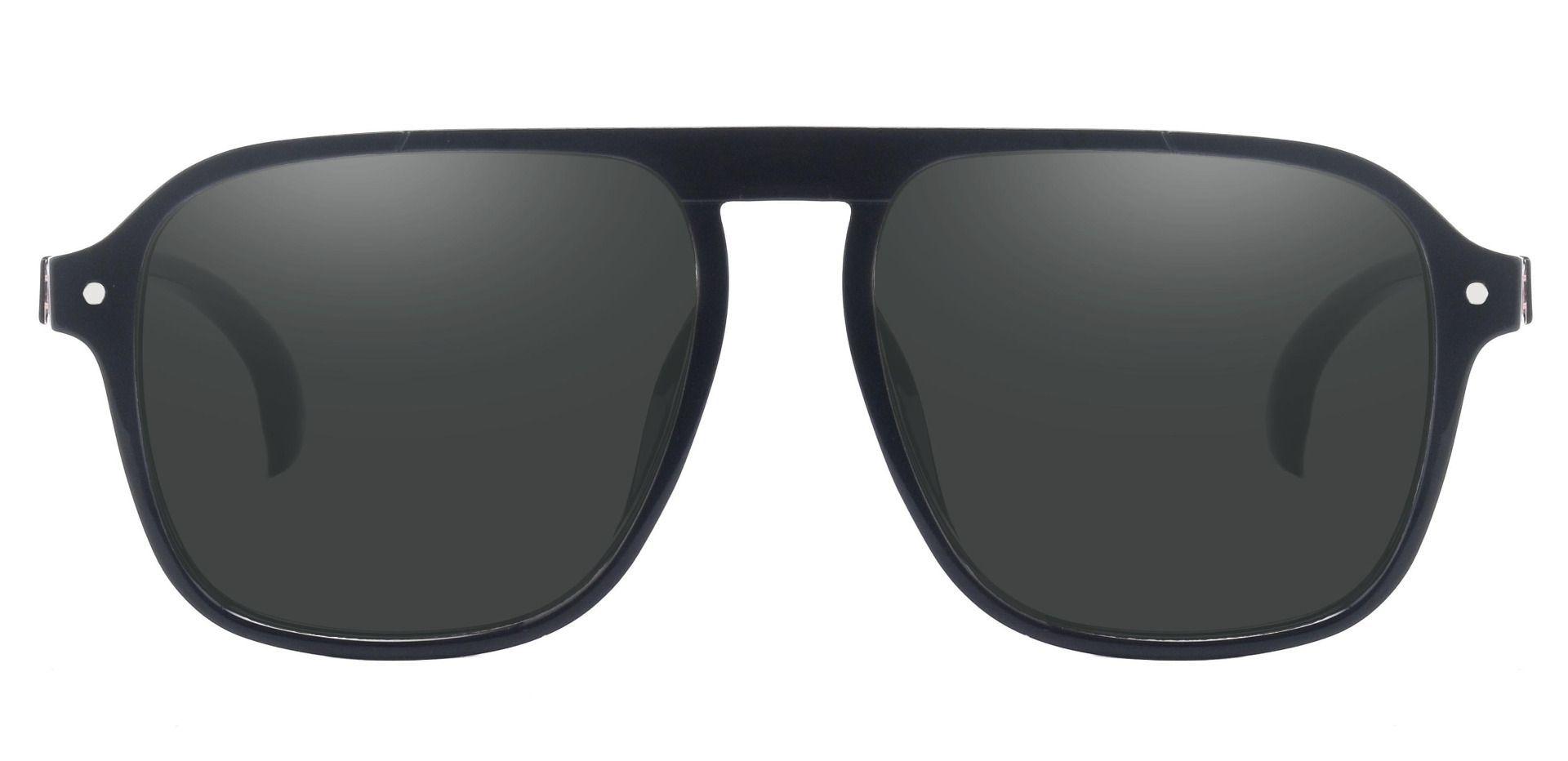 Gideon Aviator Non-Rx Sunglasses - Black Frame With Gray Lenses