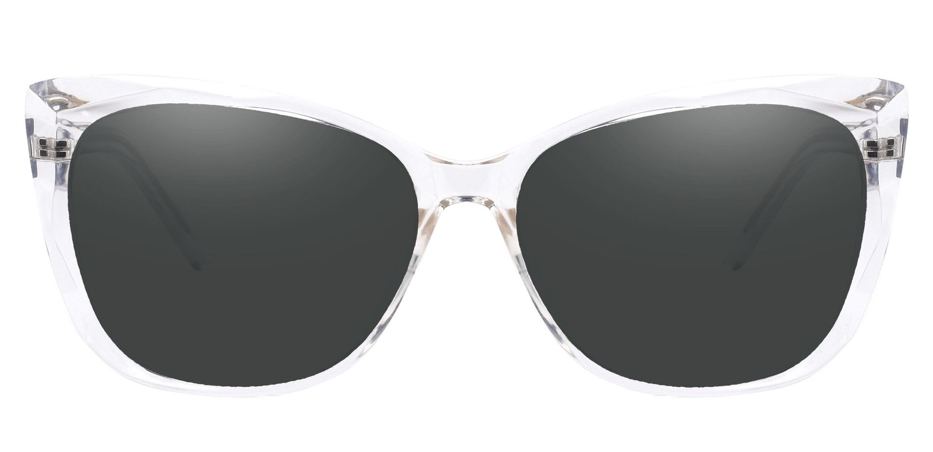 Mabel Square Reading Sunglasses - Clear Frame With Gray Lenses