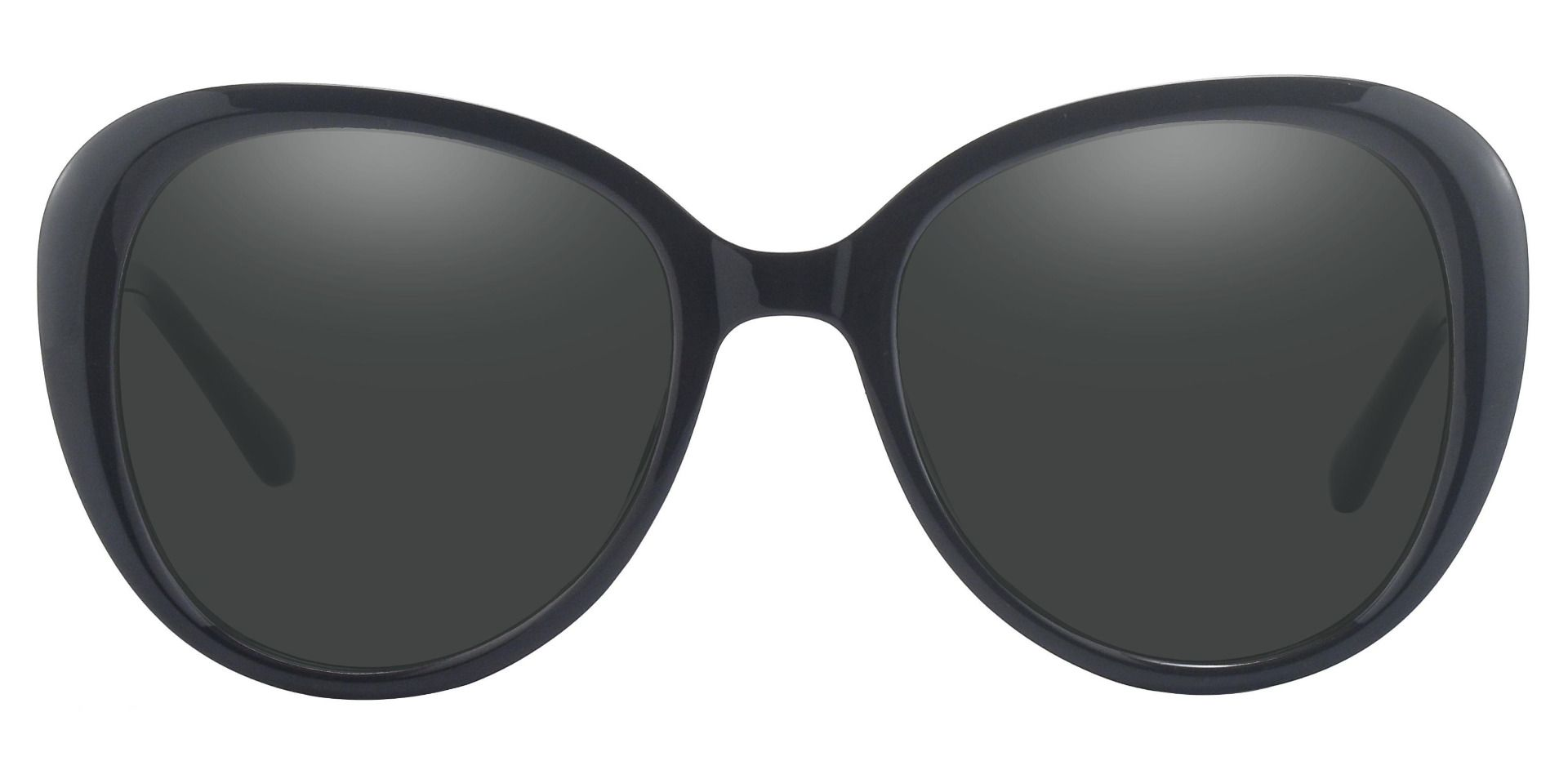 Sheridan Oval Non-Rx Sunglasses - Black Frame With Gray Lenses