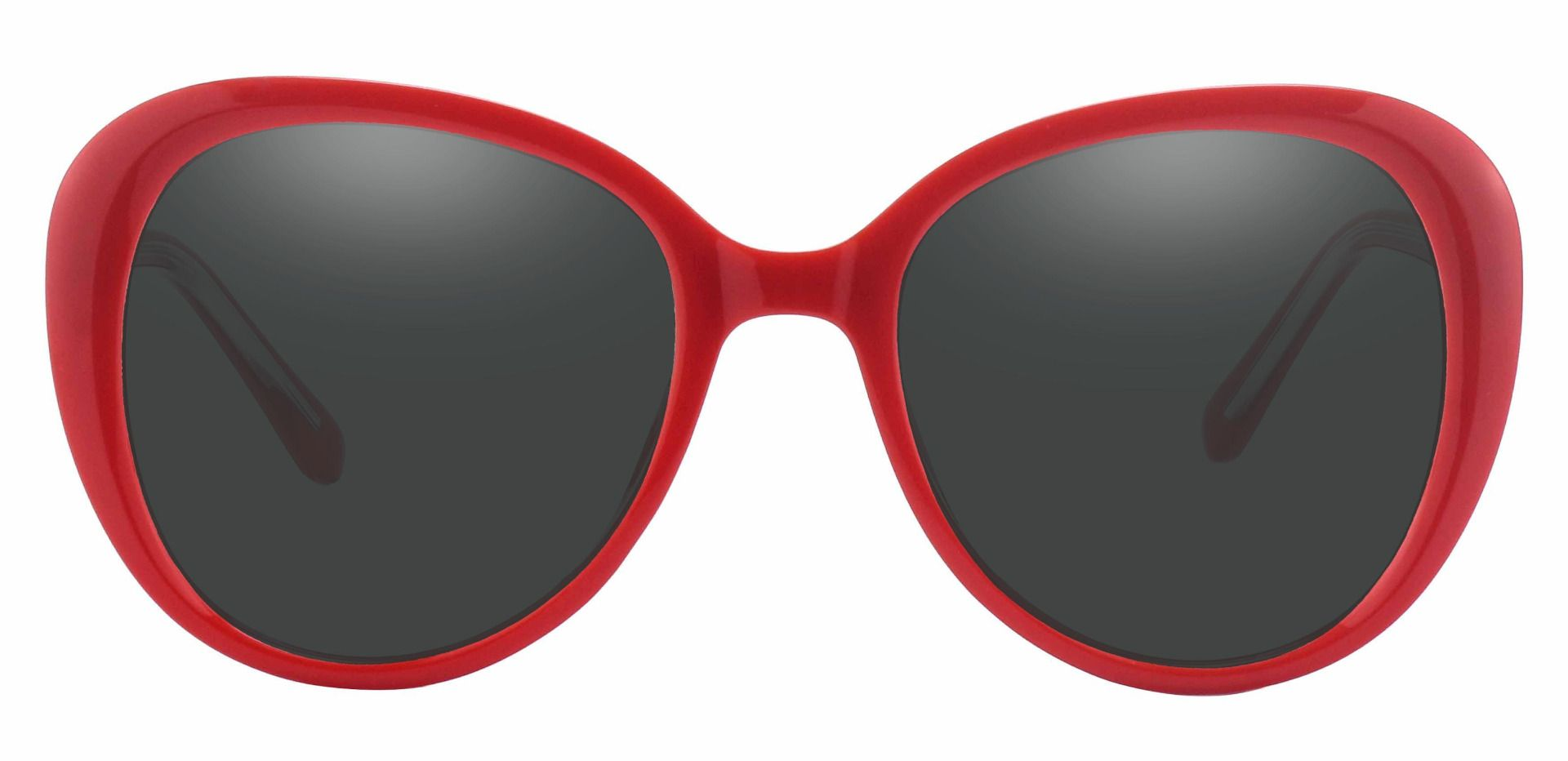 Sheridan Oval Lined Bifocal Sunglasses - Red Frame With Gray Lenses