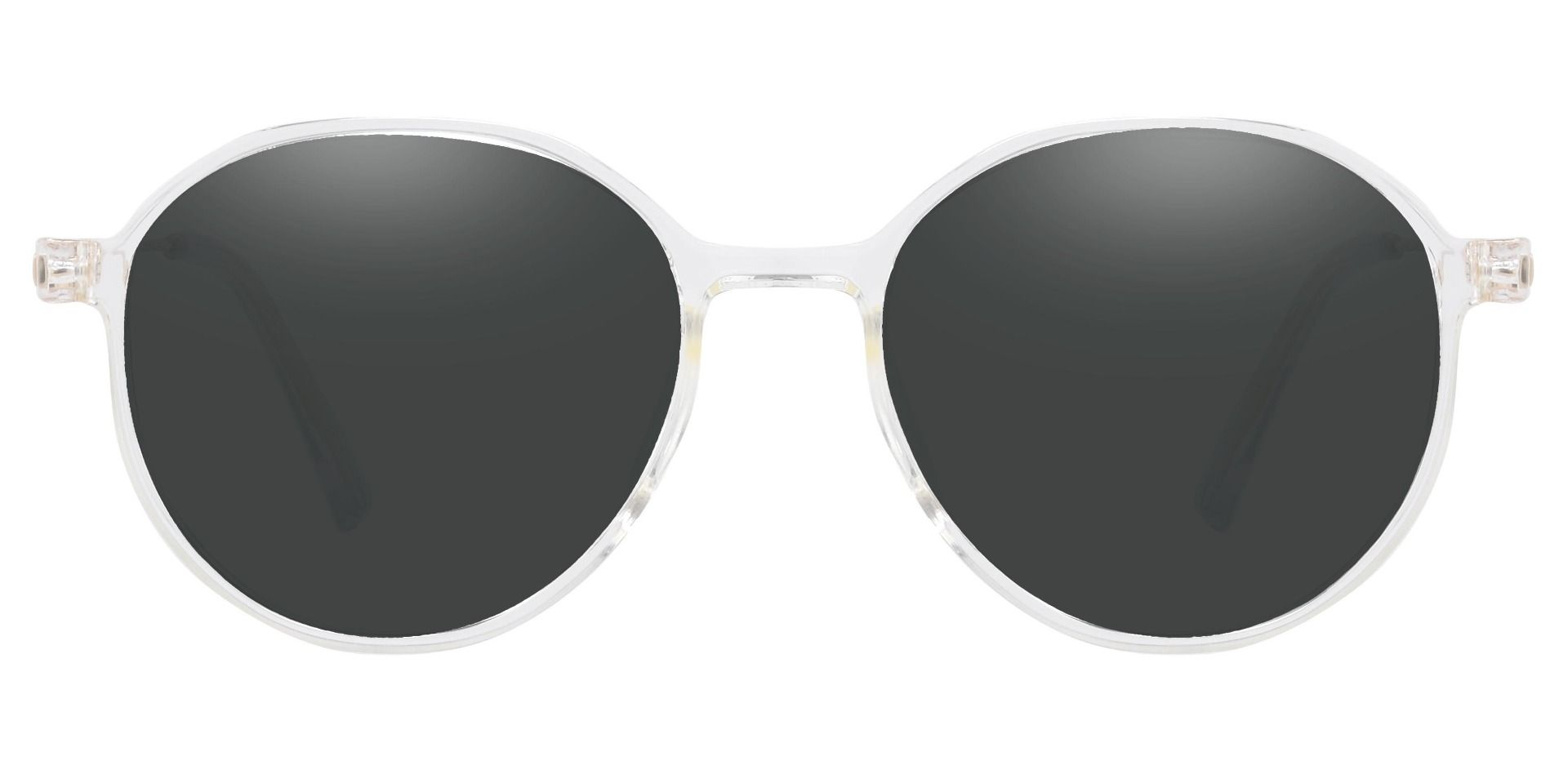 Daytona Geometric Prescription Sunglasses - Clear Frame With Gray Lenses