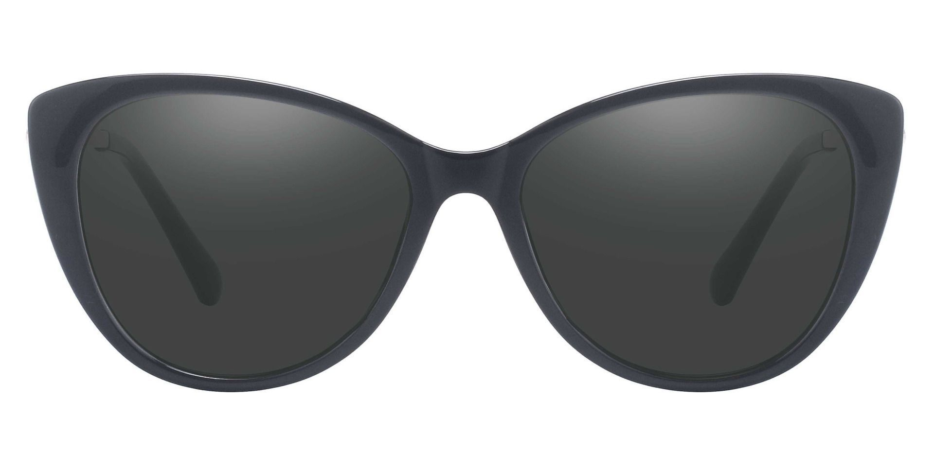 Roma Cat Eye Prescription Sunglasses - Black Frame With Gray Lenses