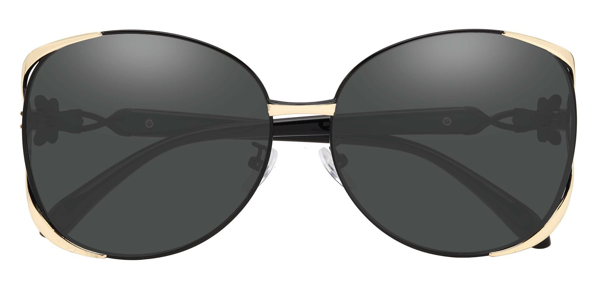 Nina Round Single Vision Sunglasses - Black Frame With Gray Lenses