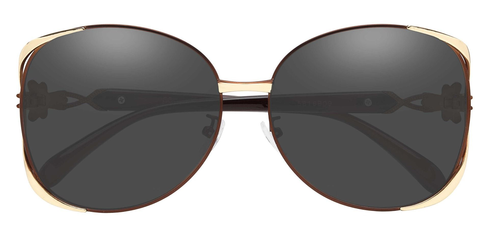 Nina Round Non-Rx Sunglasses - Brown Frame With Gray Lenses