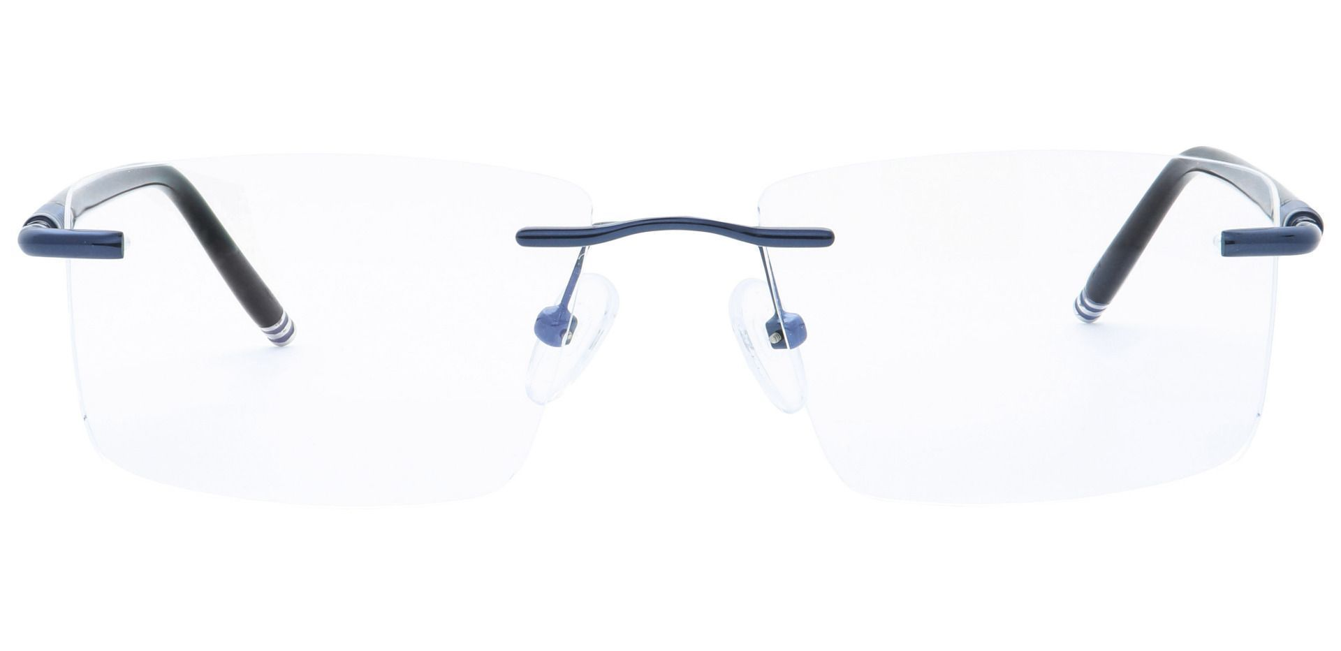 Tartan Rimless Blue Light Blocking Glasses - Blue