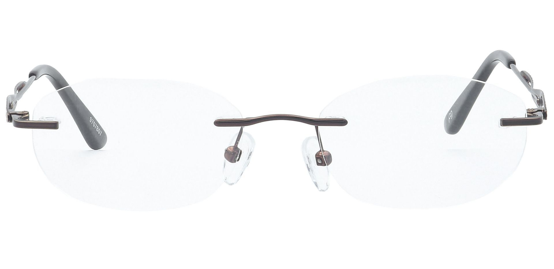 Greta Rimless Lined Bifocal Glasses - Brown