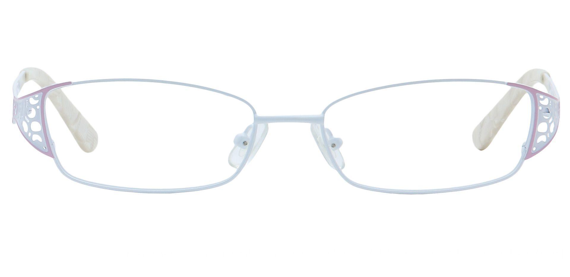 Alina Oval Blue Light Blocking Glasses - White