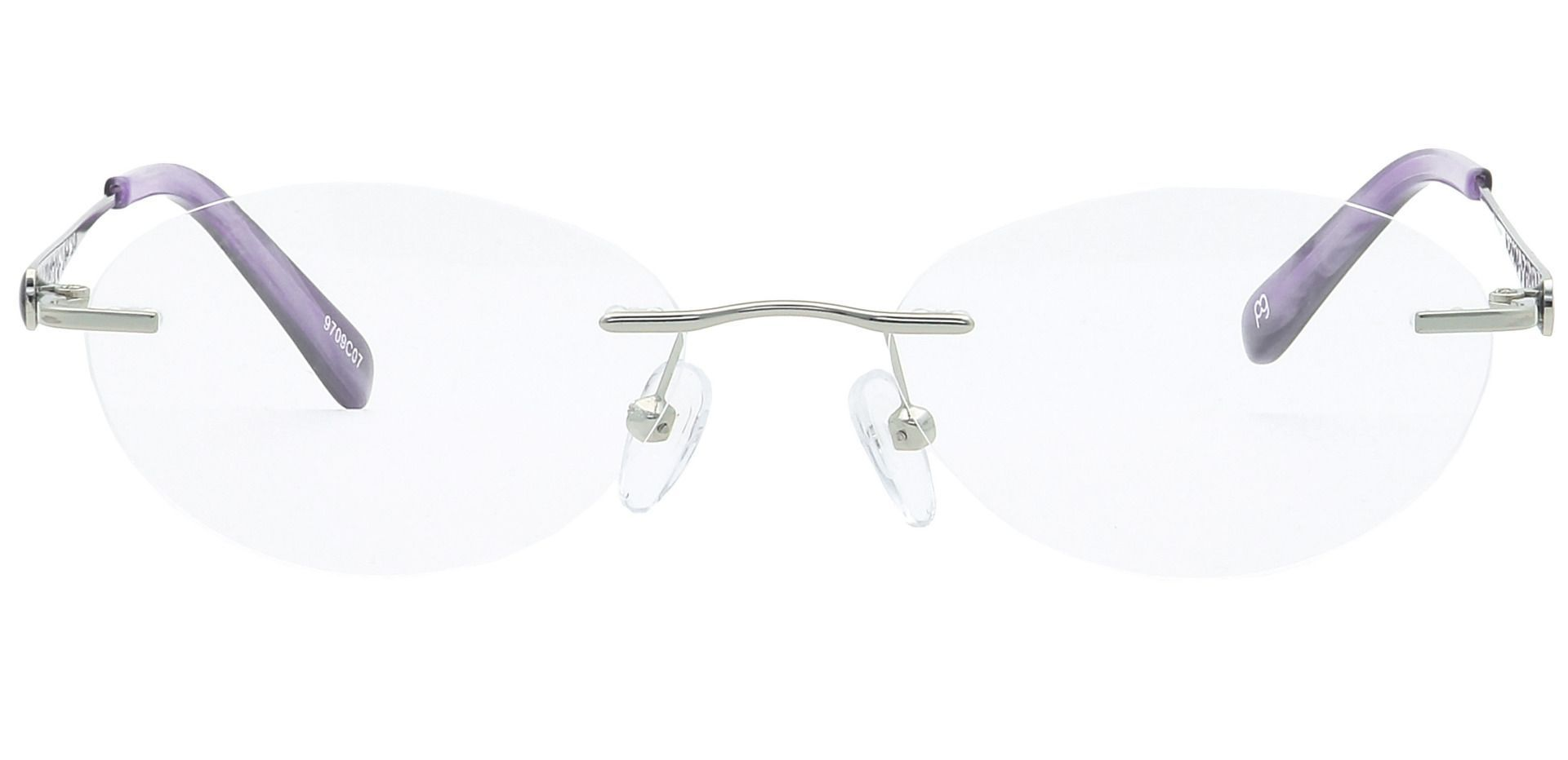 Christina Rimless Blue Light Blocking Glasses - The Frame Is Silver And Purple
