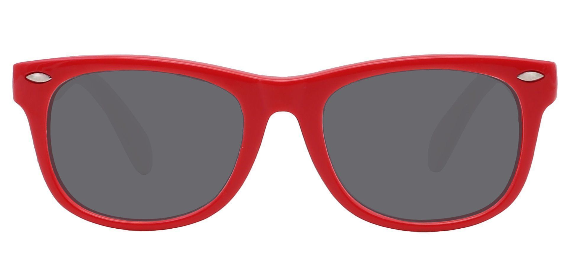 Wren Square Single Vision Sunglasses - Red Frame With Gray Lenses