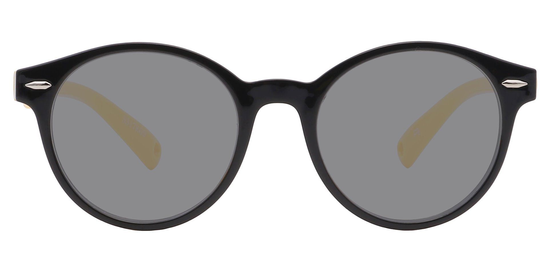 Harris Round Single Vision Sunglasses - Black Frame With Gray Lenses