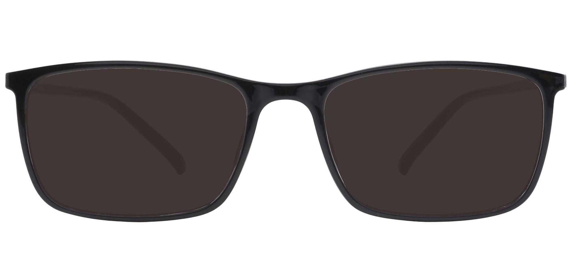 Fuji Rectangle Prescription Sunglasses - Black Frame With Gray Lenses