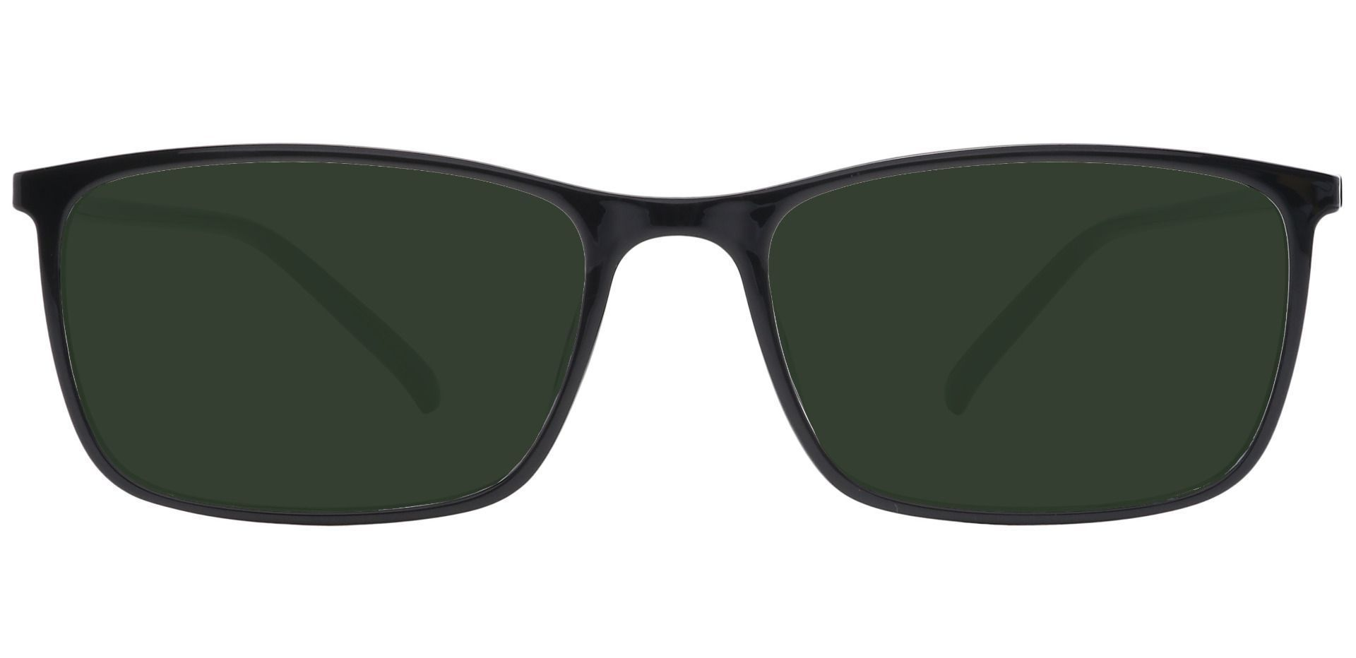 Fuji Rectangle Prescription Sunglasses - Black Frame With Green Lenses