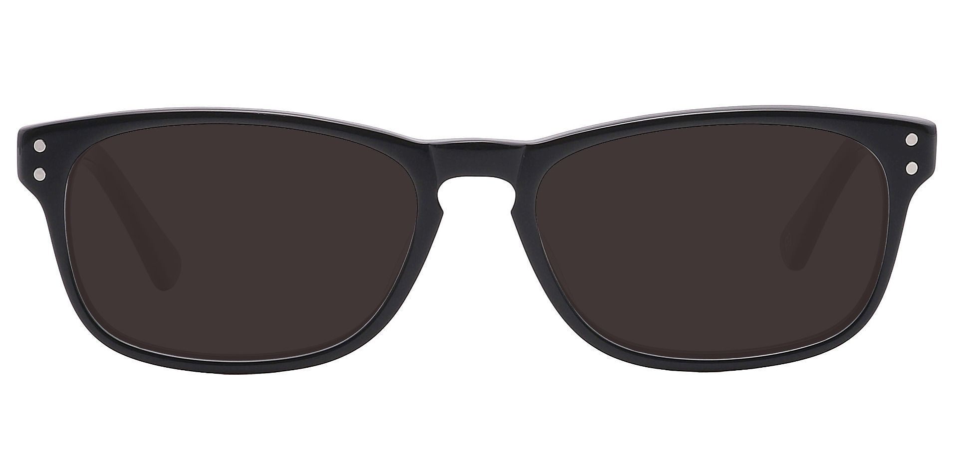 Morris Rectangle Prescription Sunglasses - Black Frame With Gray Lenses