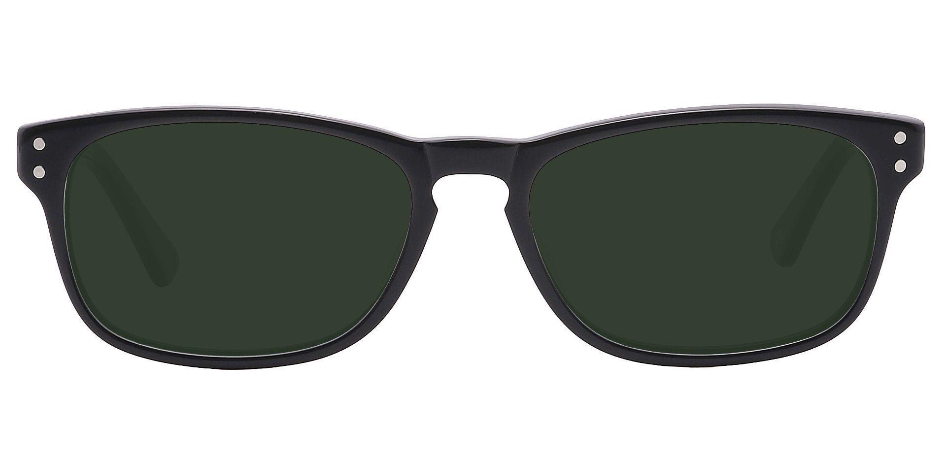 Morris Rectangle Non-Rx Sunglasses - Black Frame With Green Lenses