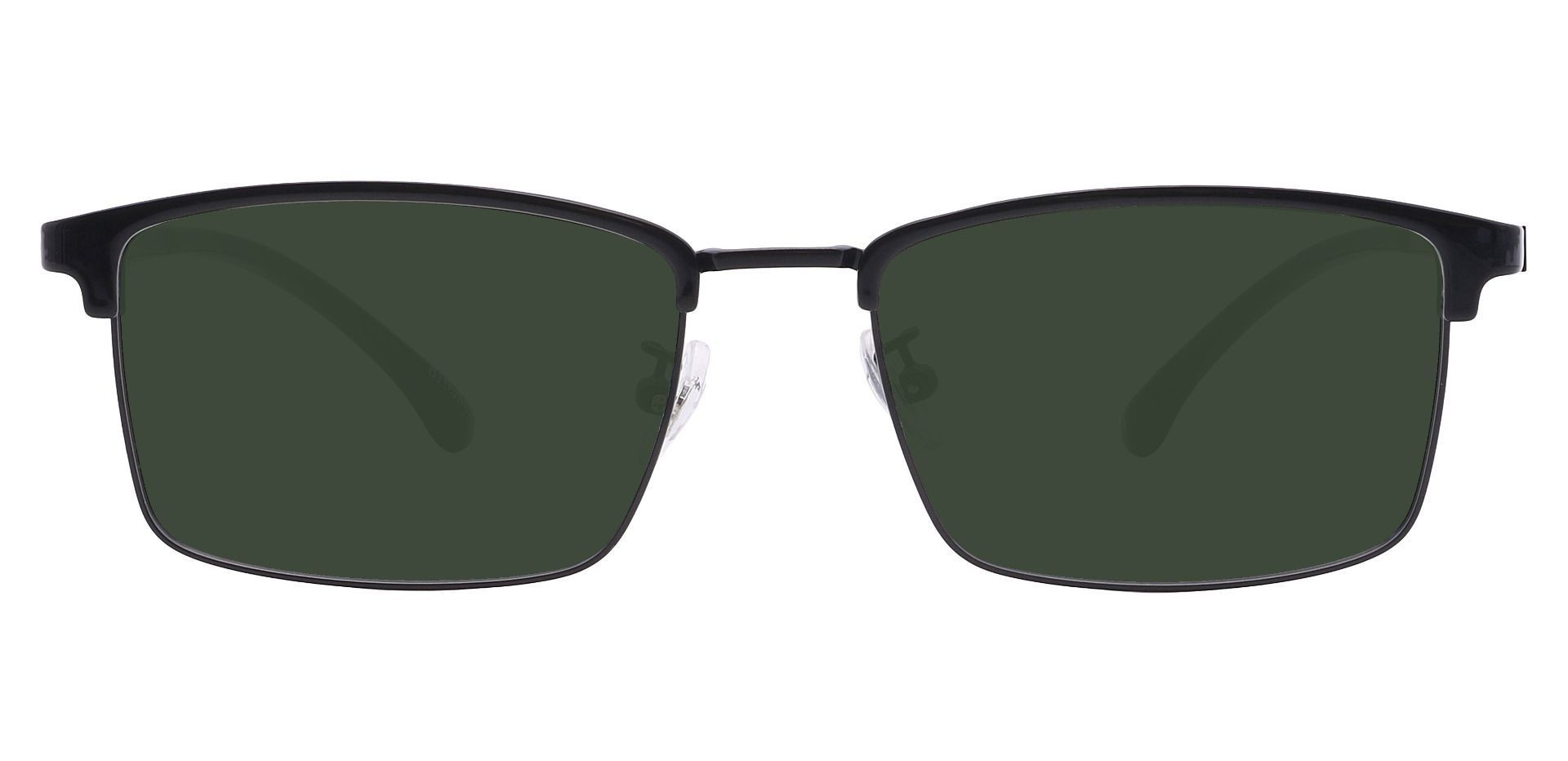 Young Browline Prescription Sunglasses - Black Frame With Green Lenses