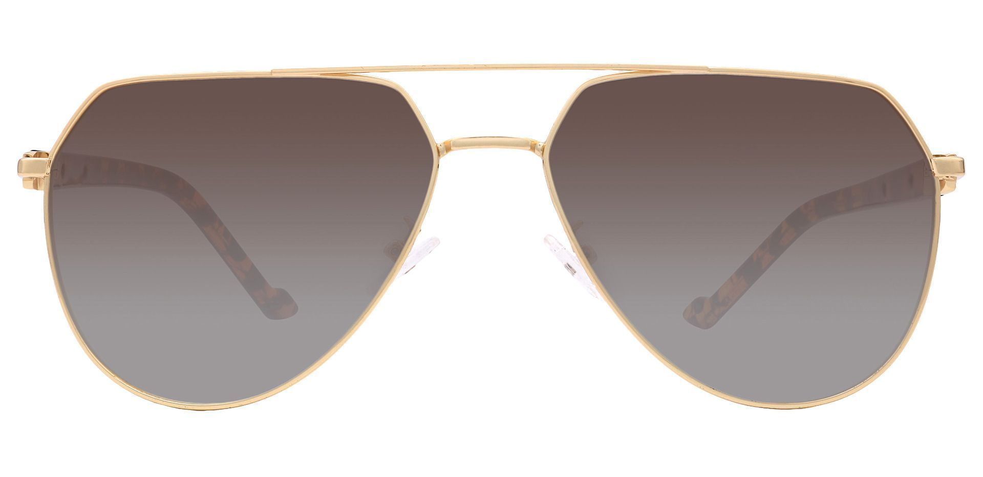 Wright Aviator Non-Rx Sunglasses - Yellow Frame With Brown Lenses