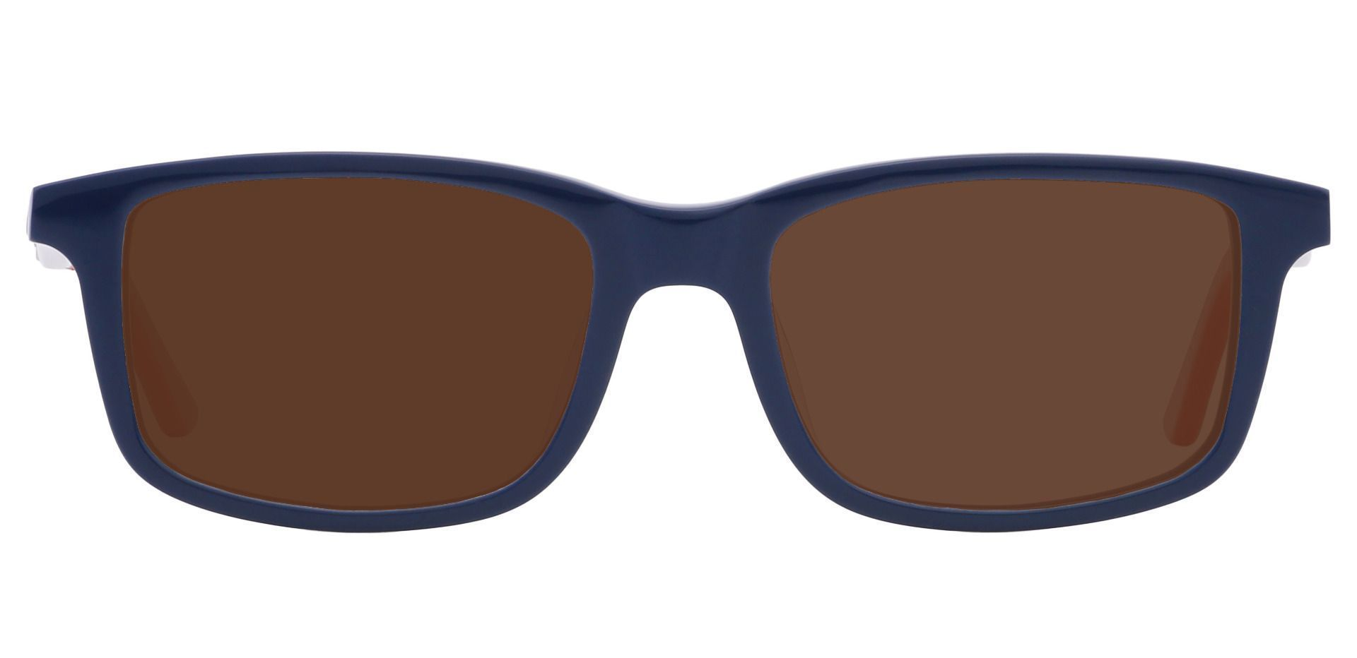 Hub Rectangle Single Vision Sunglasses - Blue Frame With Brown Lenses