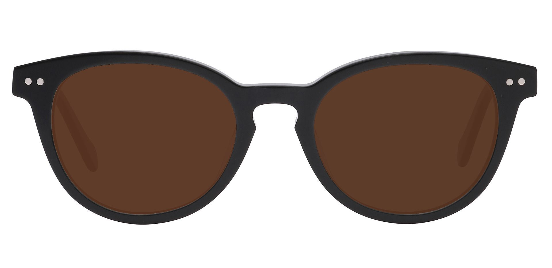 Forbes Oval Reading Sunglasses - Black Frame With Brown Lenses