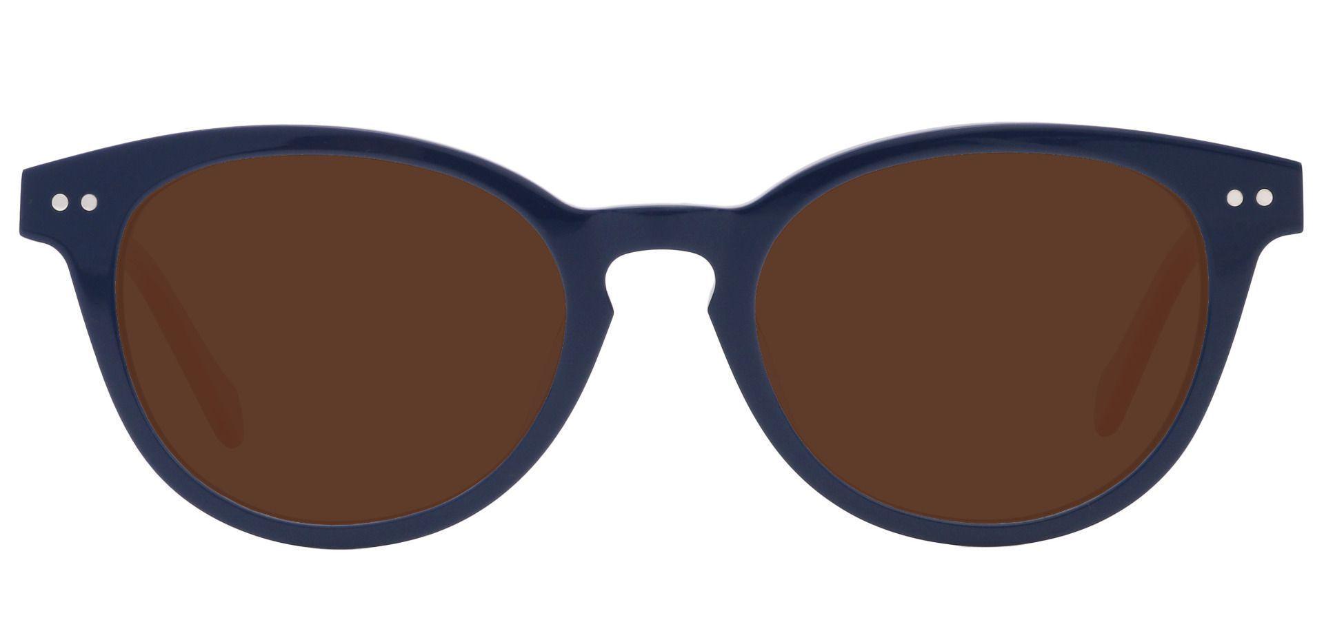 Common Oval Progressive Sunglasses - Blue Frame With Brown Lenses