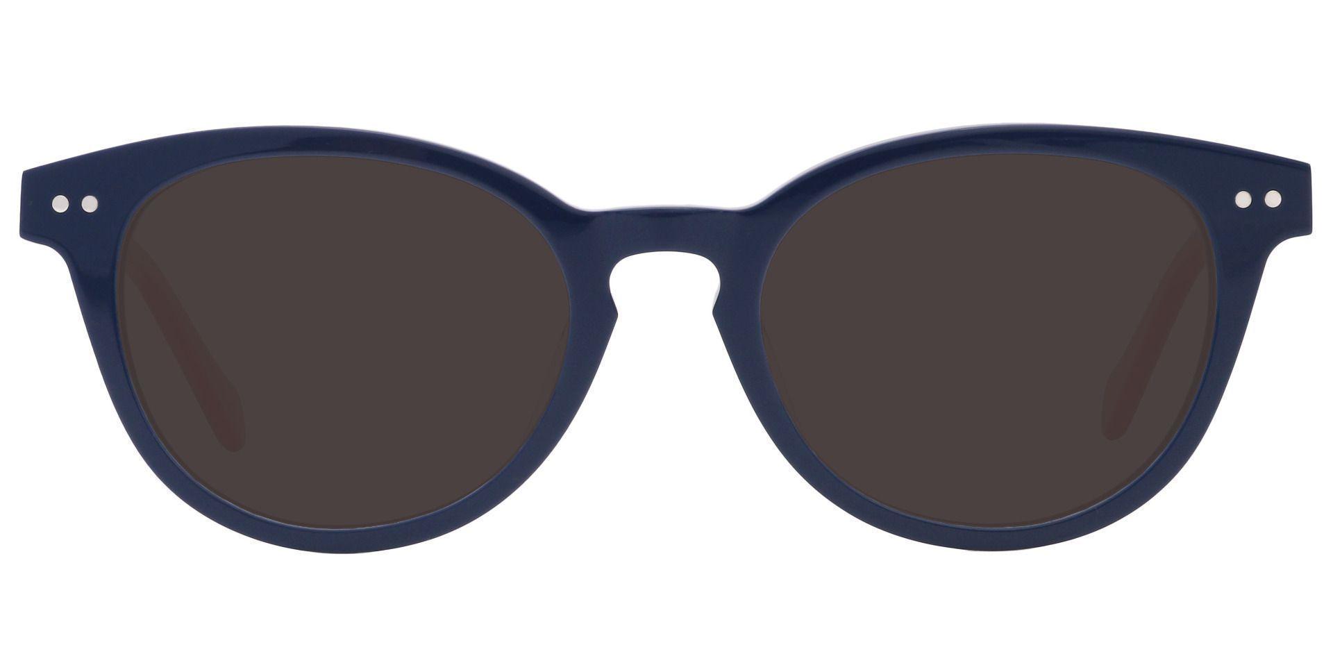 Common Oval Progressive Sunglasses - Blue Frame With Gray Lenses
