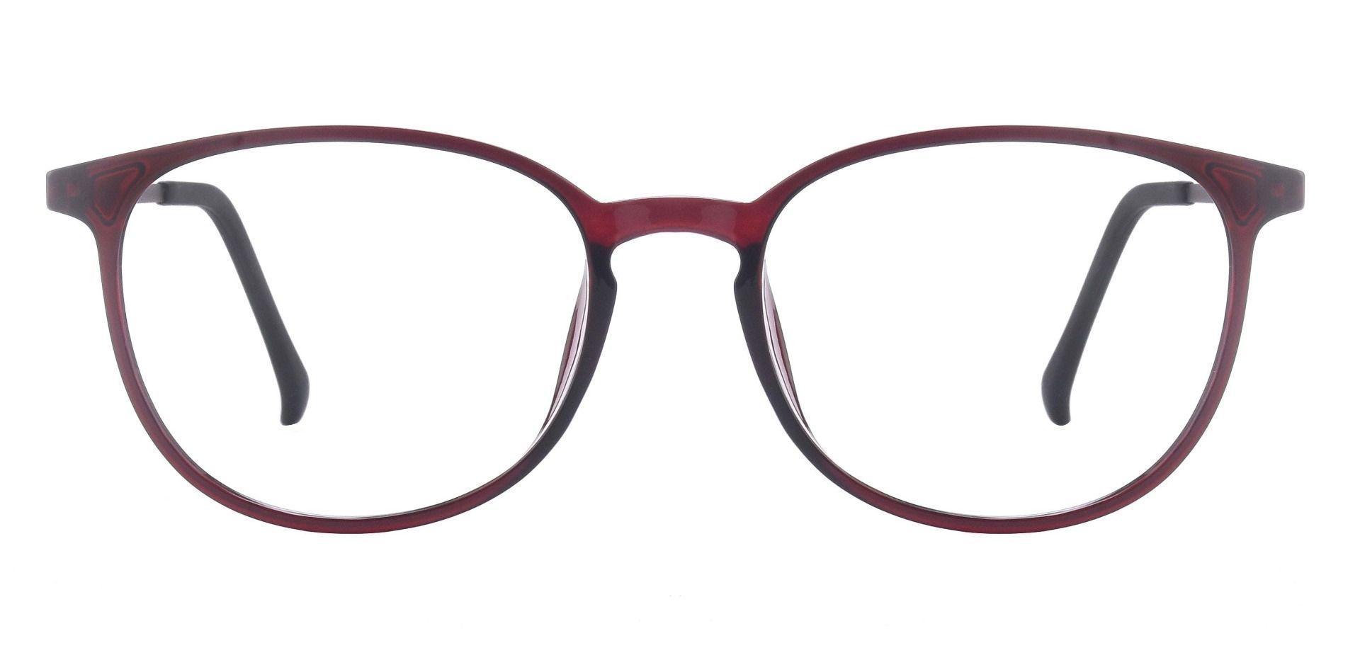 Granite Oval Progressive Glasses - Wine Crystal/brushed Red Temples