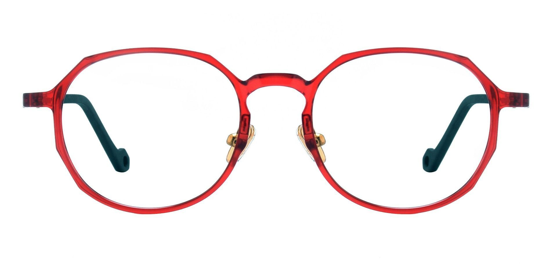 Everly Geometric Prescription Glasses - The Frame Is Red And Black