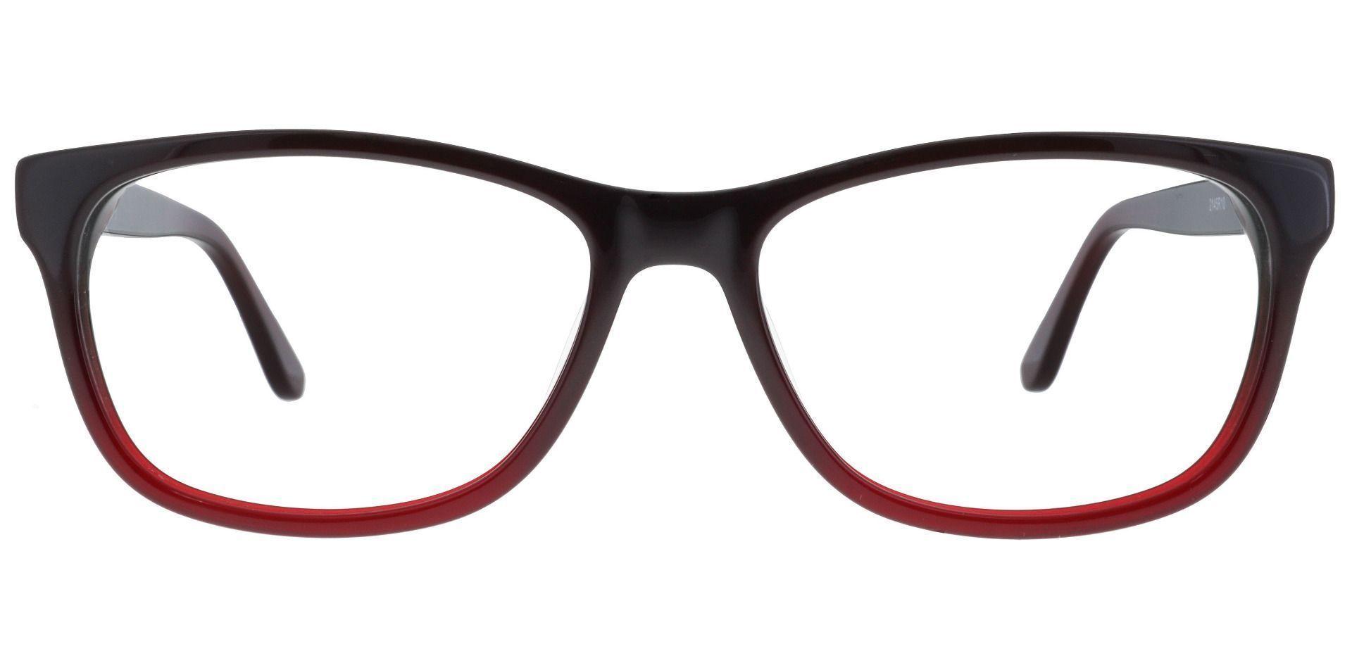 Azure Rectangle Prescription Glasses - Red