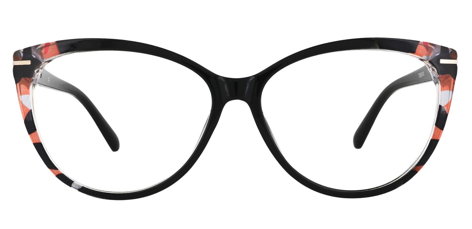 Maggie Cat Eye Prescription Glasses - Black With Peach Crystal Accents