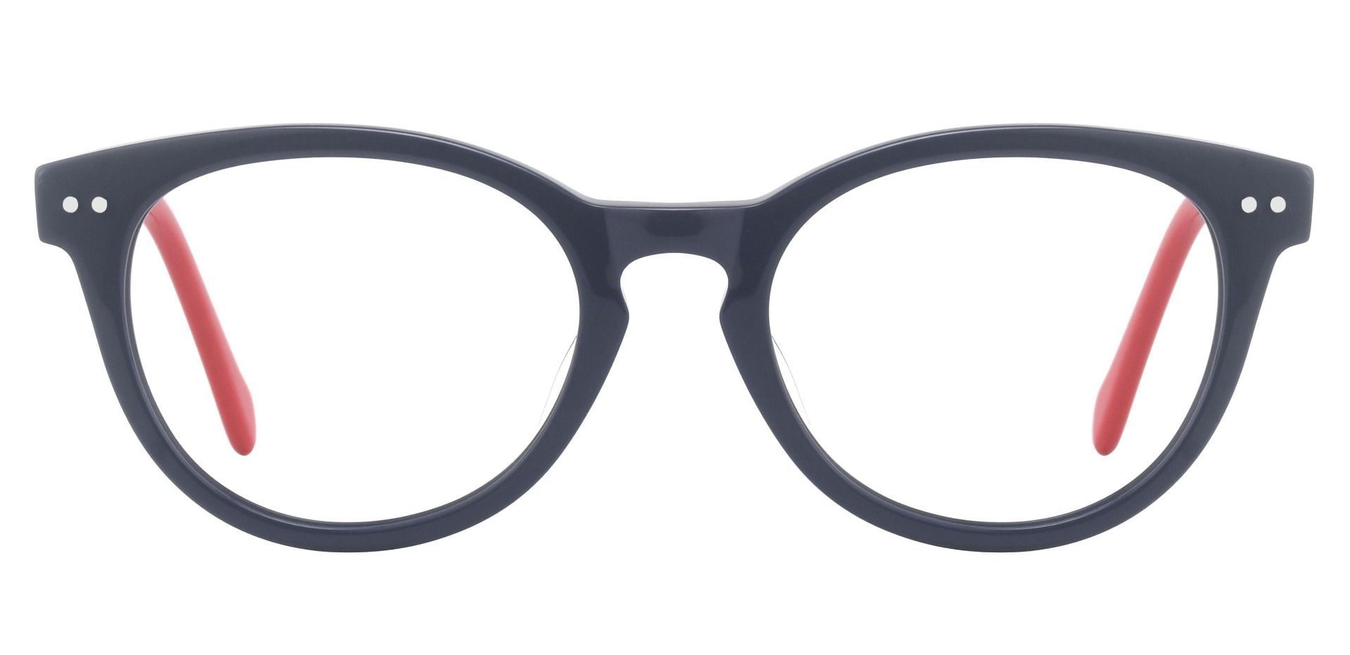 Common Oval Eyeglasses Frame - The Frame Is Blue And Red