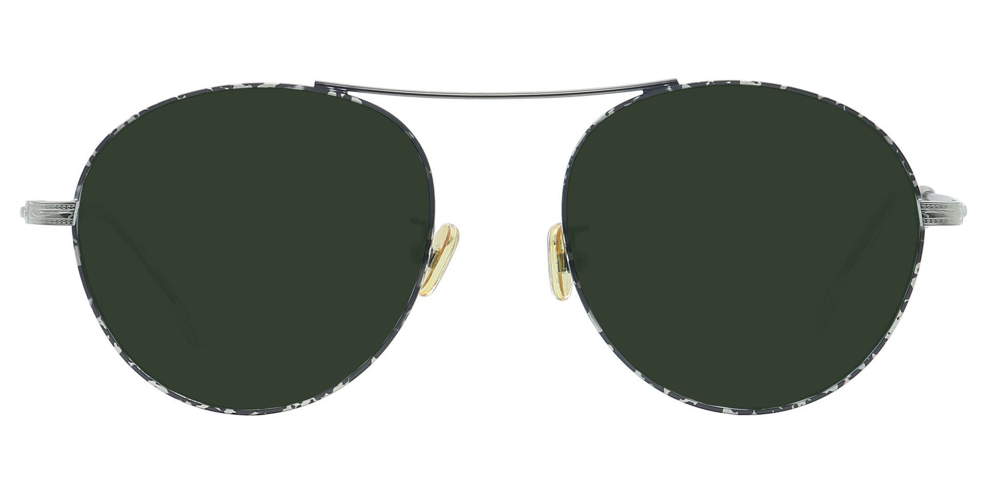 Finn Round Prescription Sunglasses - Gray Frame With Green Lenses