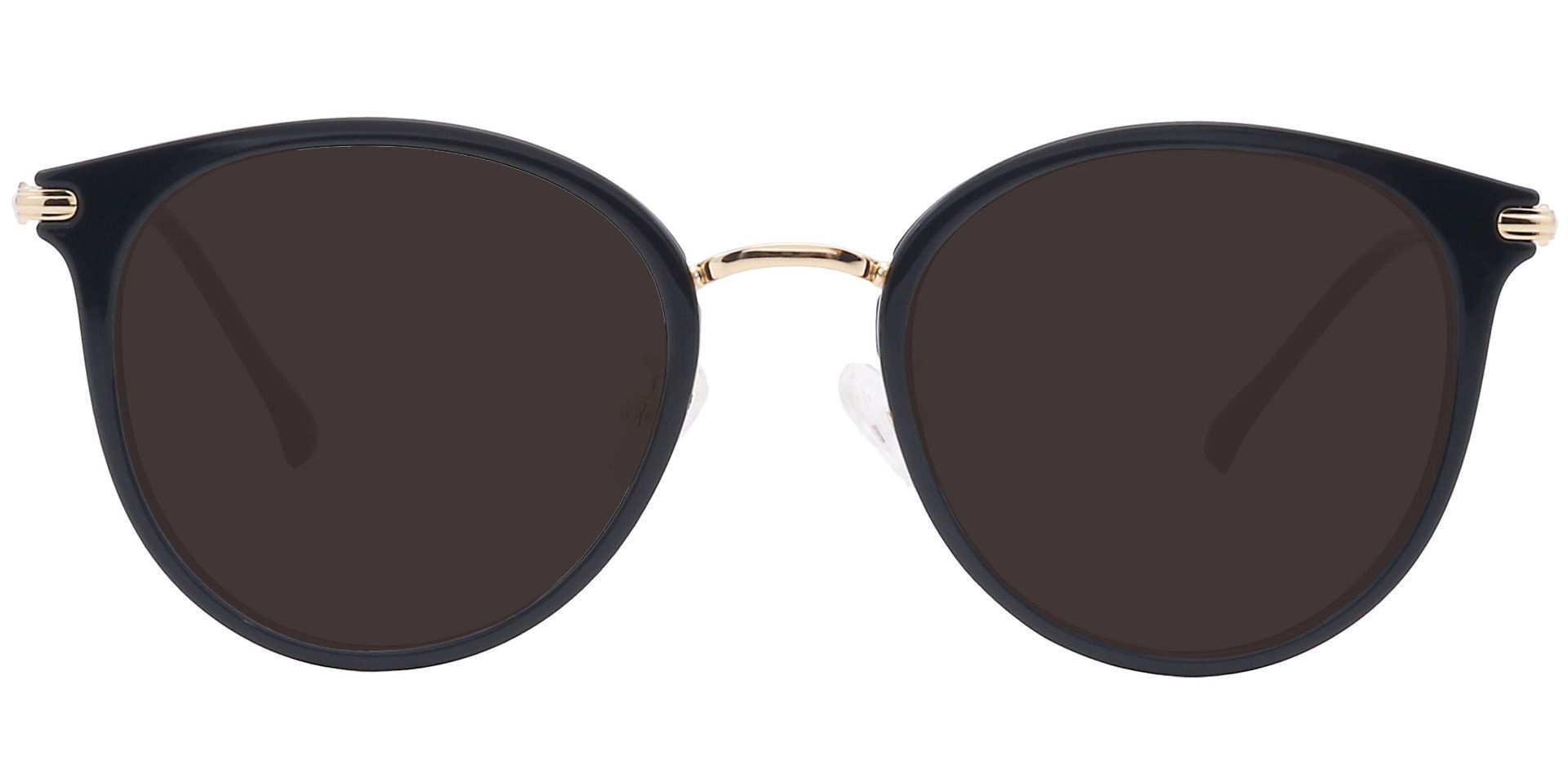 Midas Round Prescription Sunglasses - Black Frame With Gray Lenses