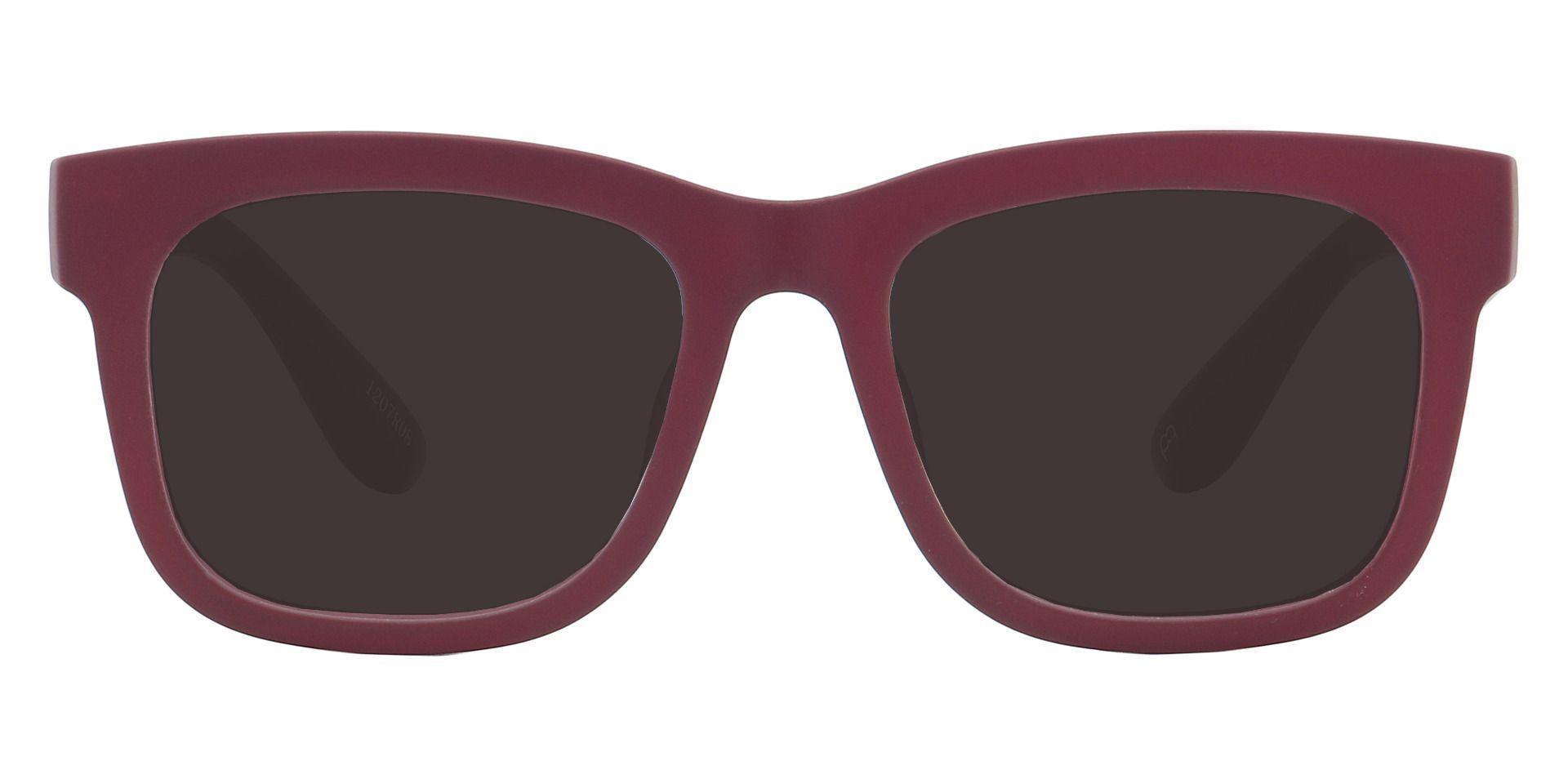Daphne Square Prescription Sunglasses - Red Frame With Gray Lenses
