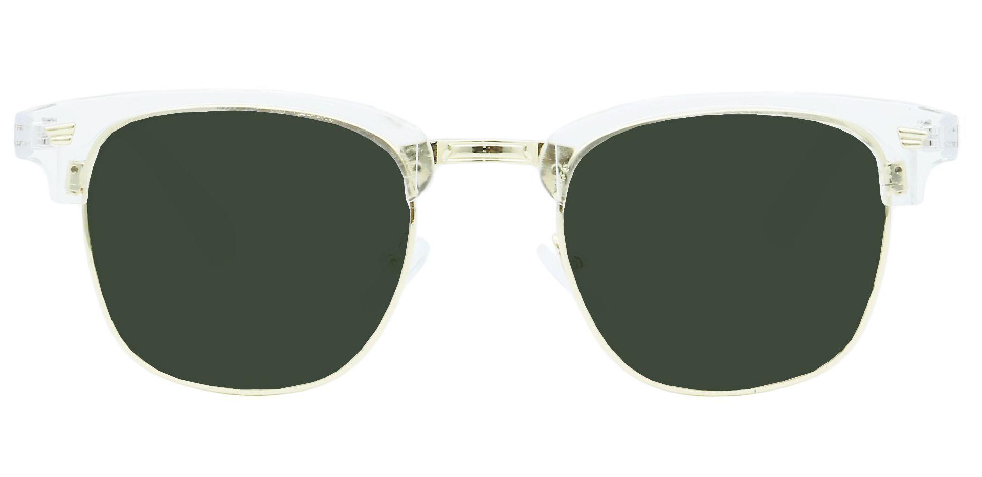 Ella Browline Prescription Sunglasses - Clear Frame With Green Lenses