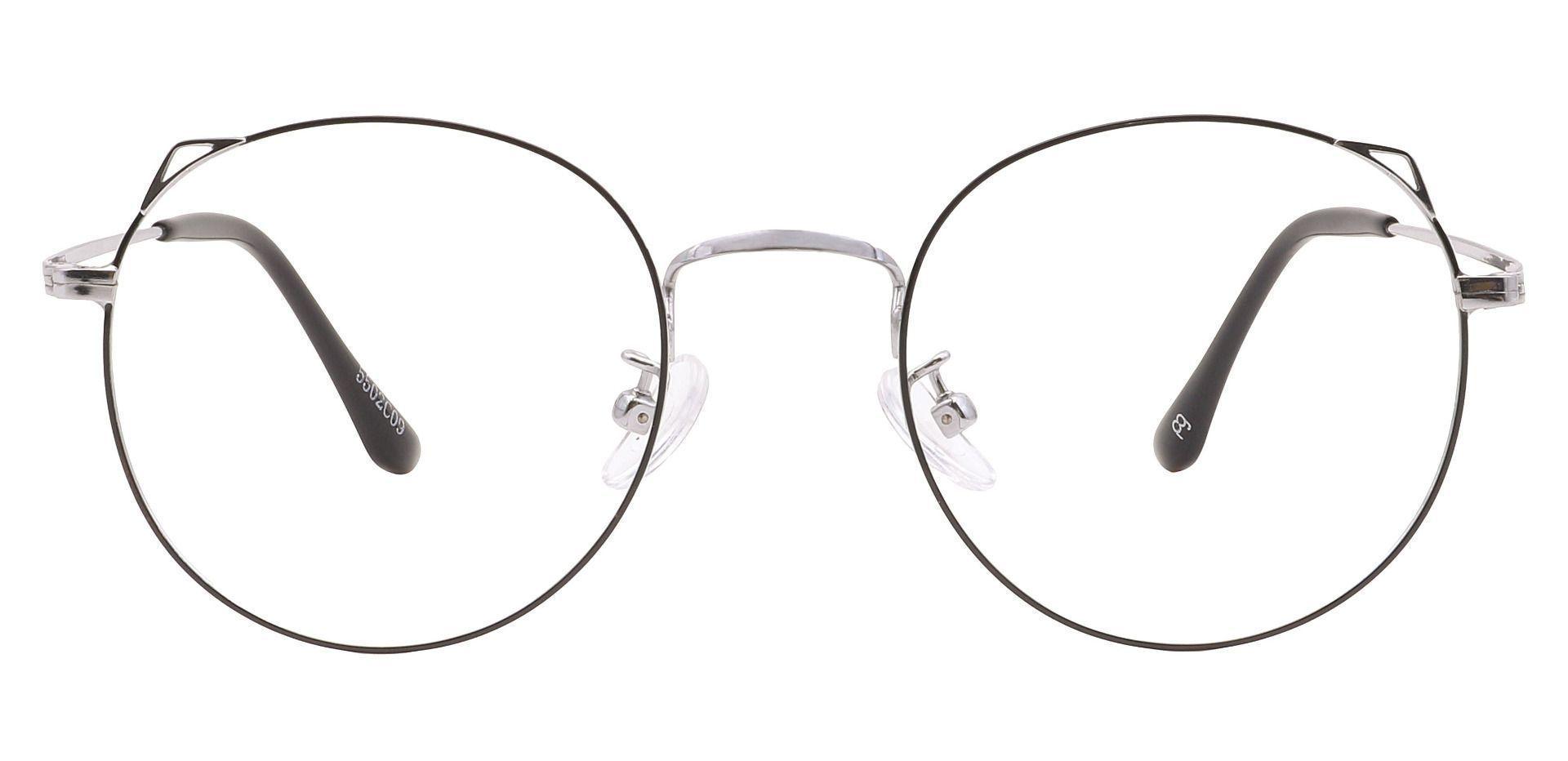 Victoria Round Prescription Glasses - Silver/black