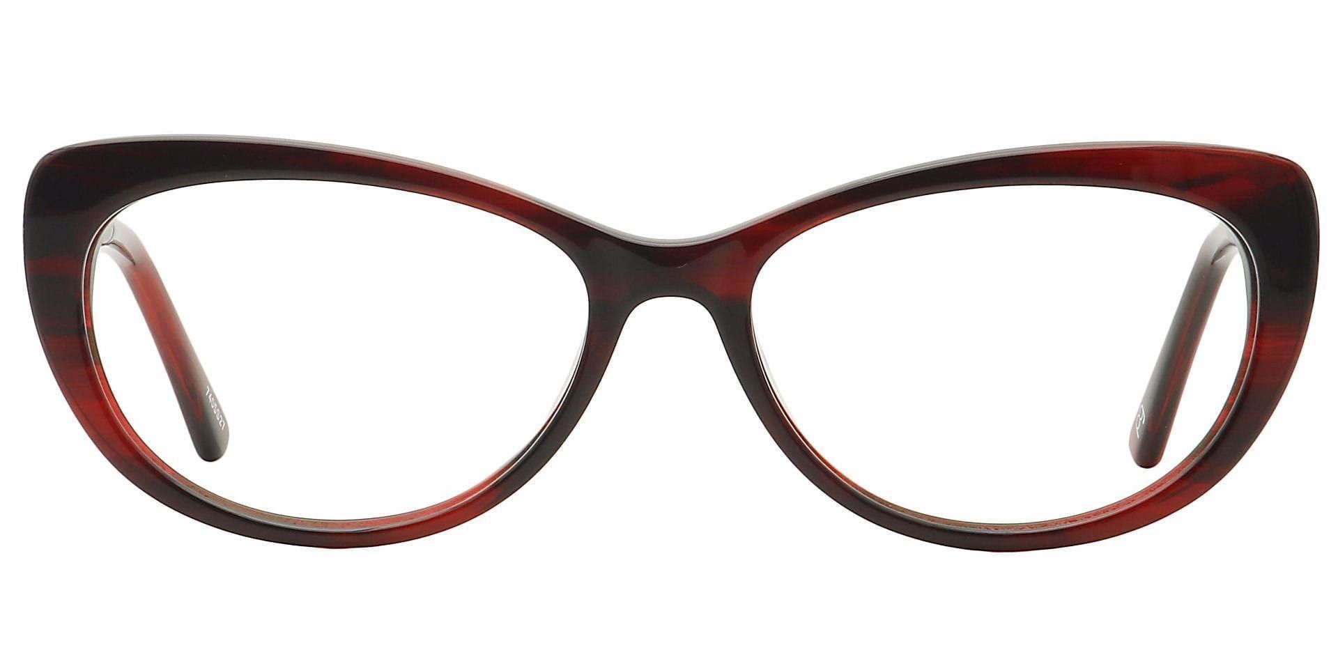 Lin Cat-Eye Lined Bifocal Glasses - Red