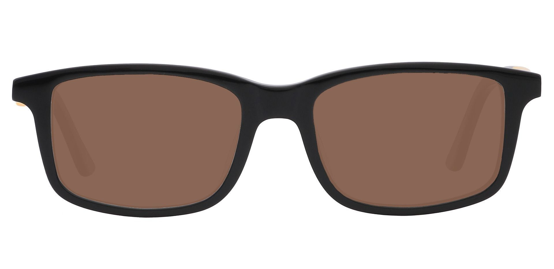 Rivers Rectangle Single Vision Sunglasses - Black Frame With Brown Lenses