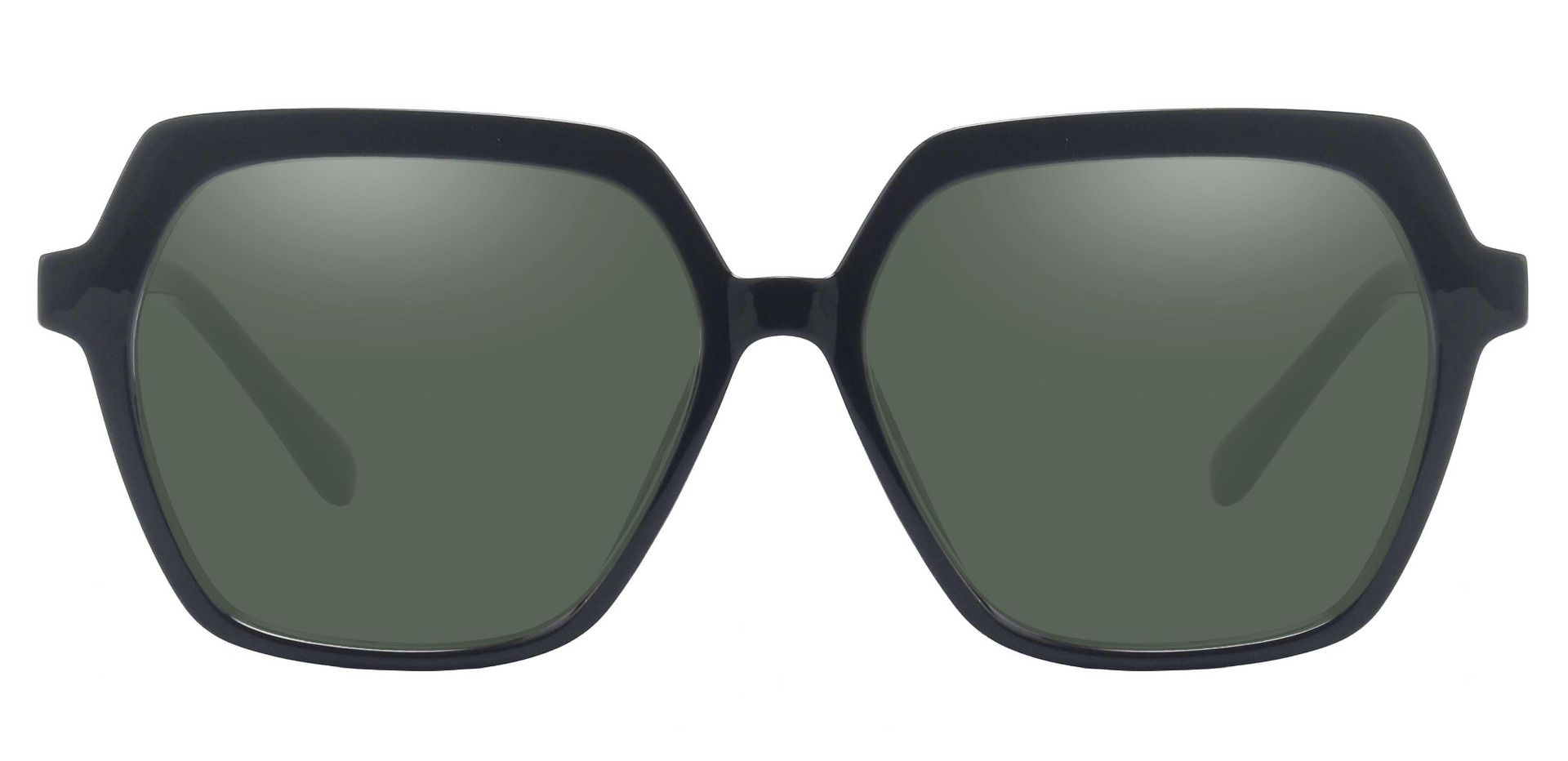Regent Geometric Prescription Sunglasses - Black Frame With Green Lenses