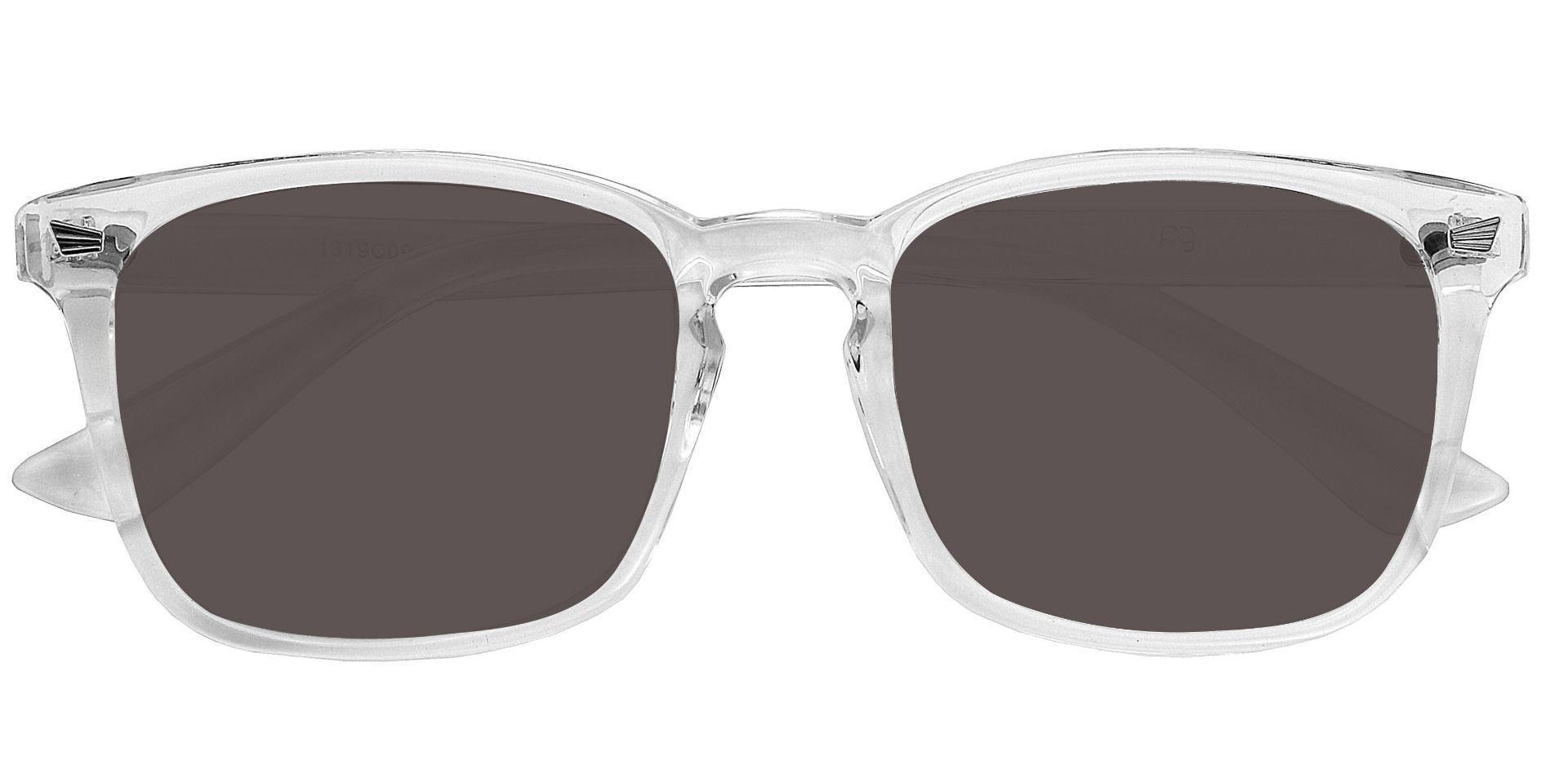 Rogan Square Prescription Sunglasses - Clear Frame With Gray Lenses