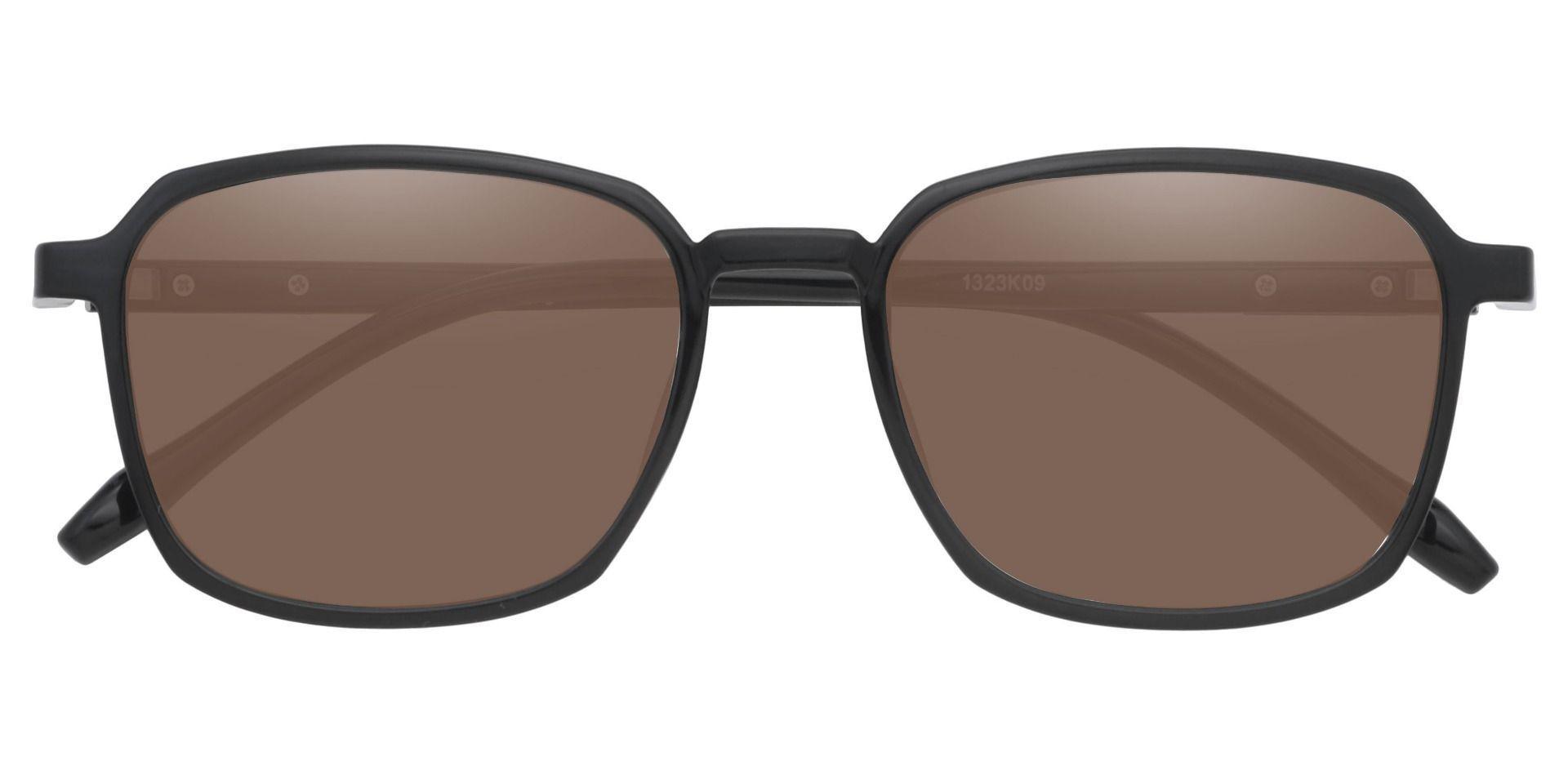 Stella Square Prescription Sunglasses - Black Frame With Brown Lenses