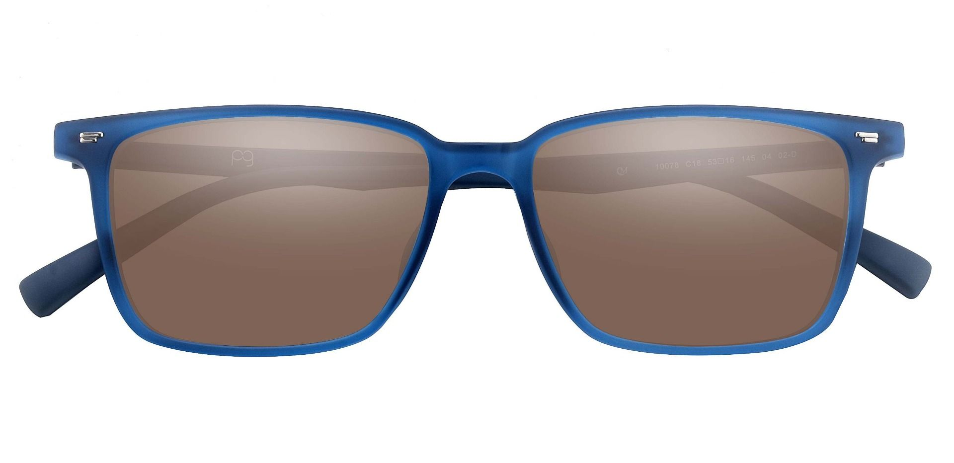 Sharona Rectangle Prescription Sunglasses - Blue Frame With Brown Lenses