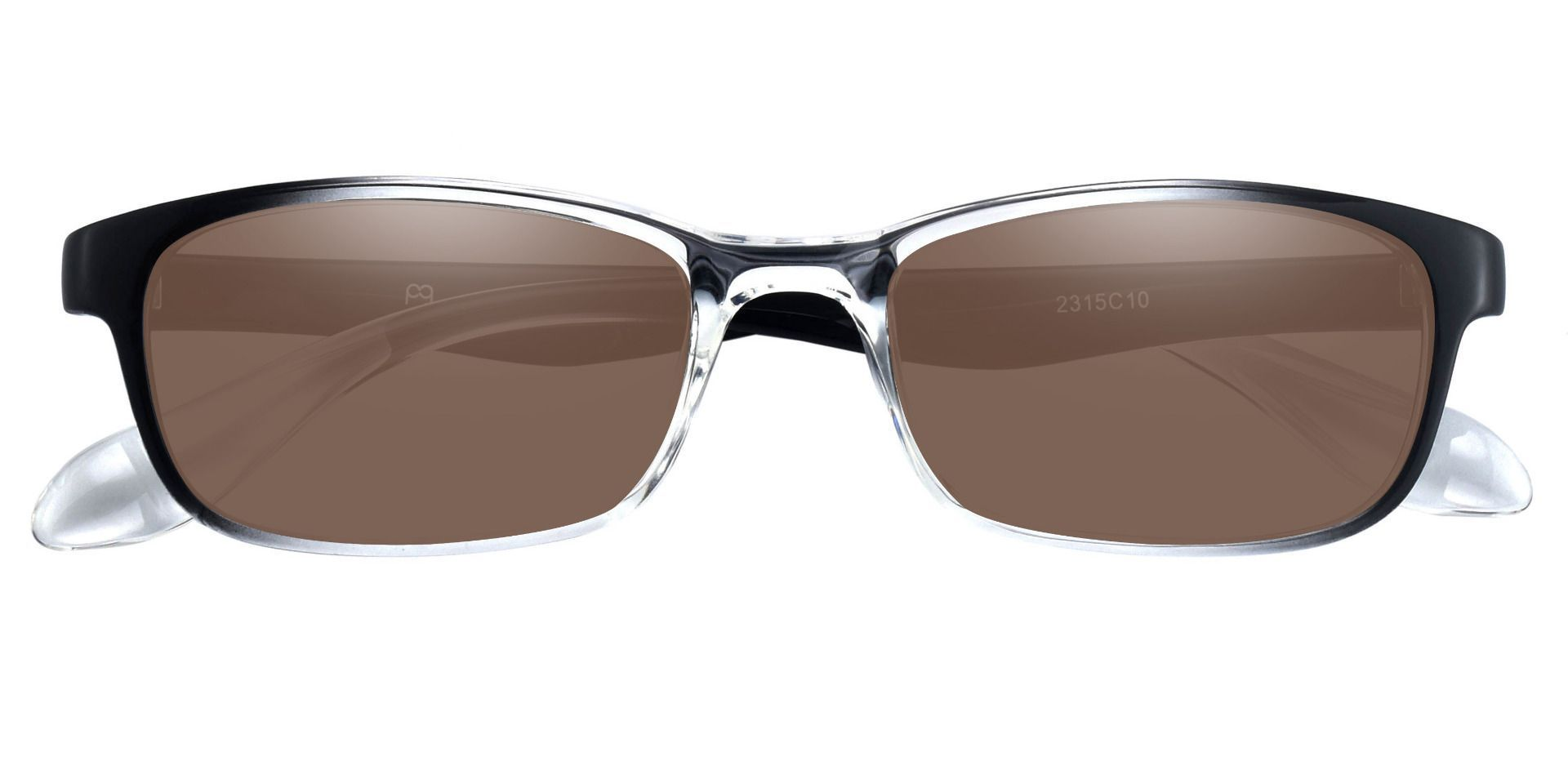 Amos Rectangle Prescription Sunglasses - Clear Frame With Brown Lenses