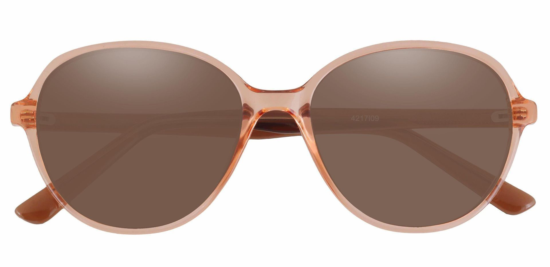 Luella Oval Prescription Sunglasses - Orange Frame With Brown Lenses